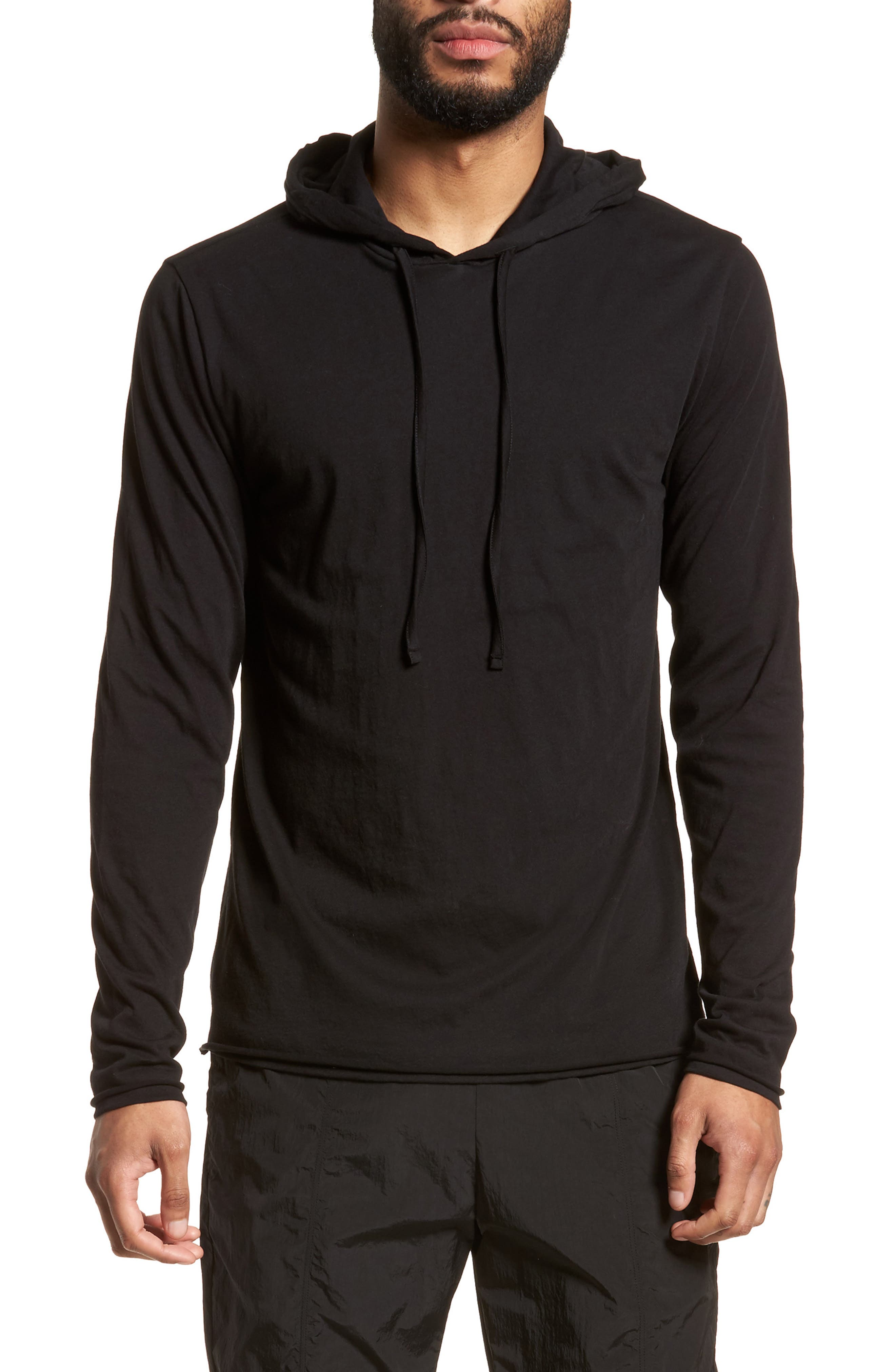 Layered Long Sleeve Pullover Hoodie,                             Main thumbnail 1, color,                             001