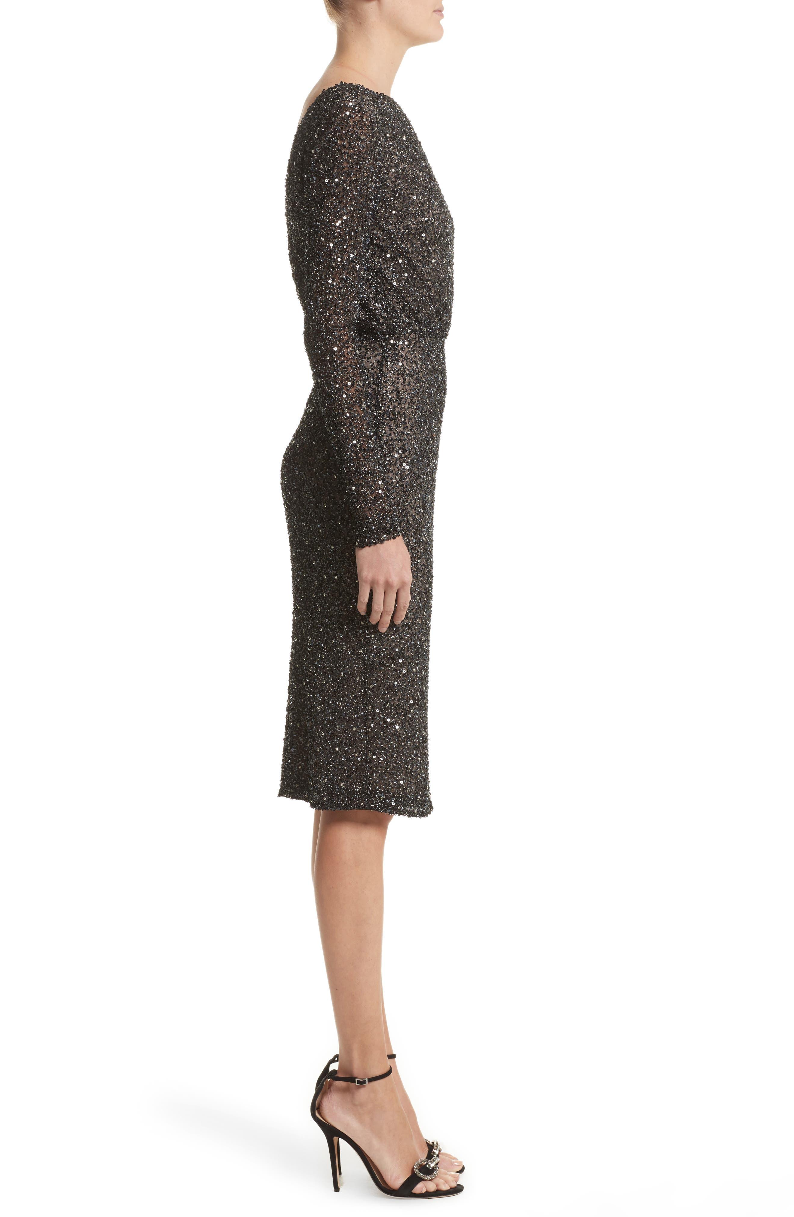 Viera Embellished V-Back Sheath Dress,                             Alternate thumbnail 3, color,                             001