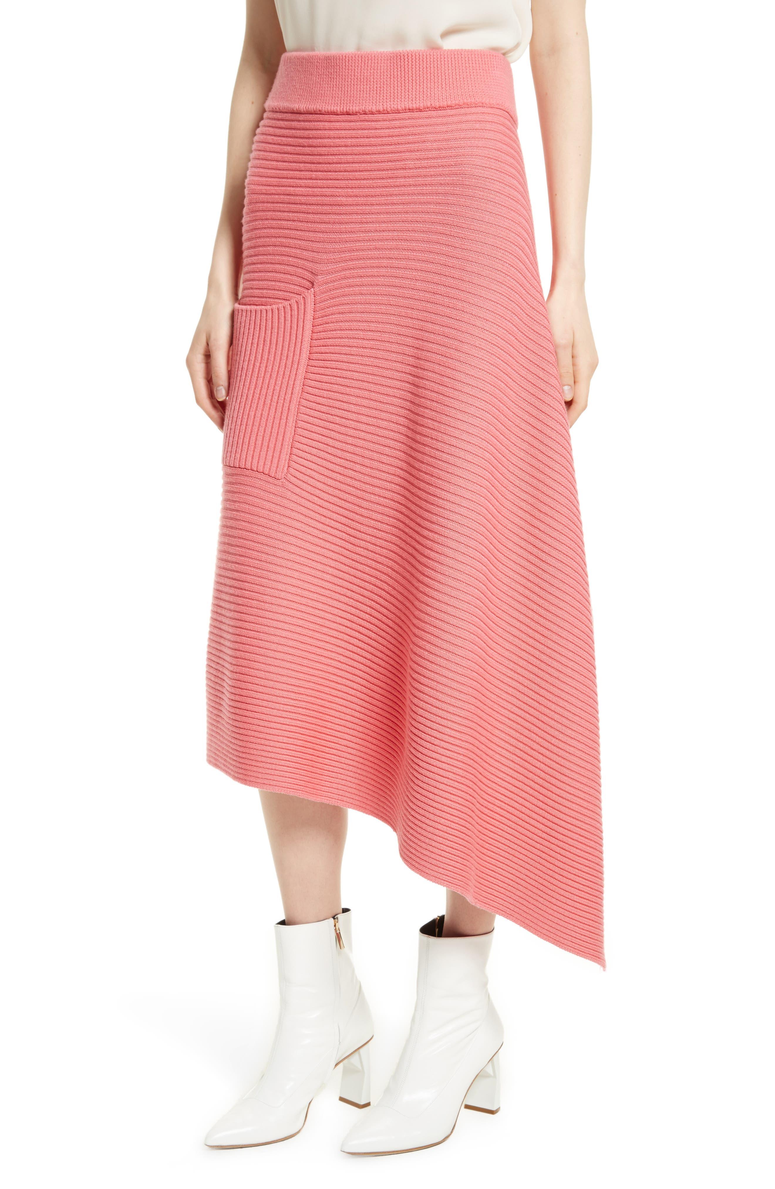 Asymmetrical Rib Merino Wool Skirt,                             Alternate thumbnail 4, color,                             650