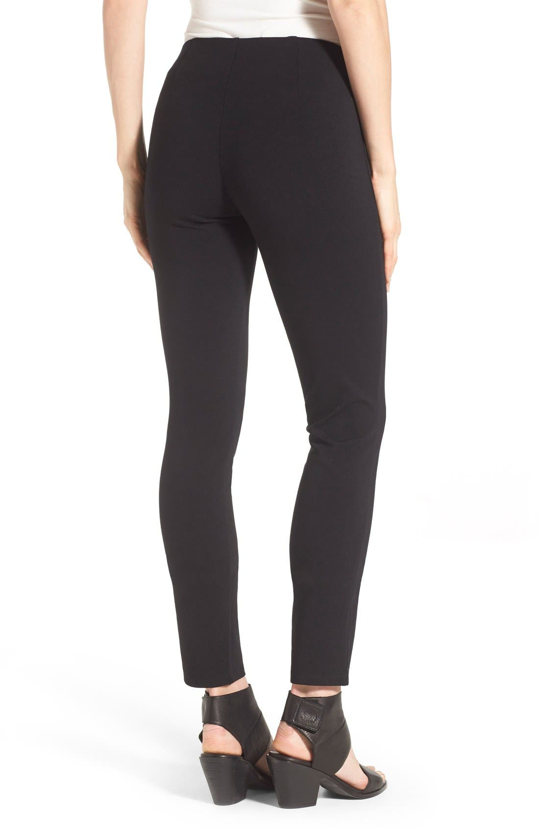 Slim Ponte Knit Pants,                             Alternate thumbnail 4, color,                             BLACK