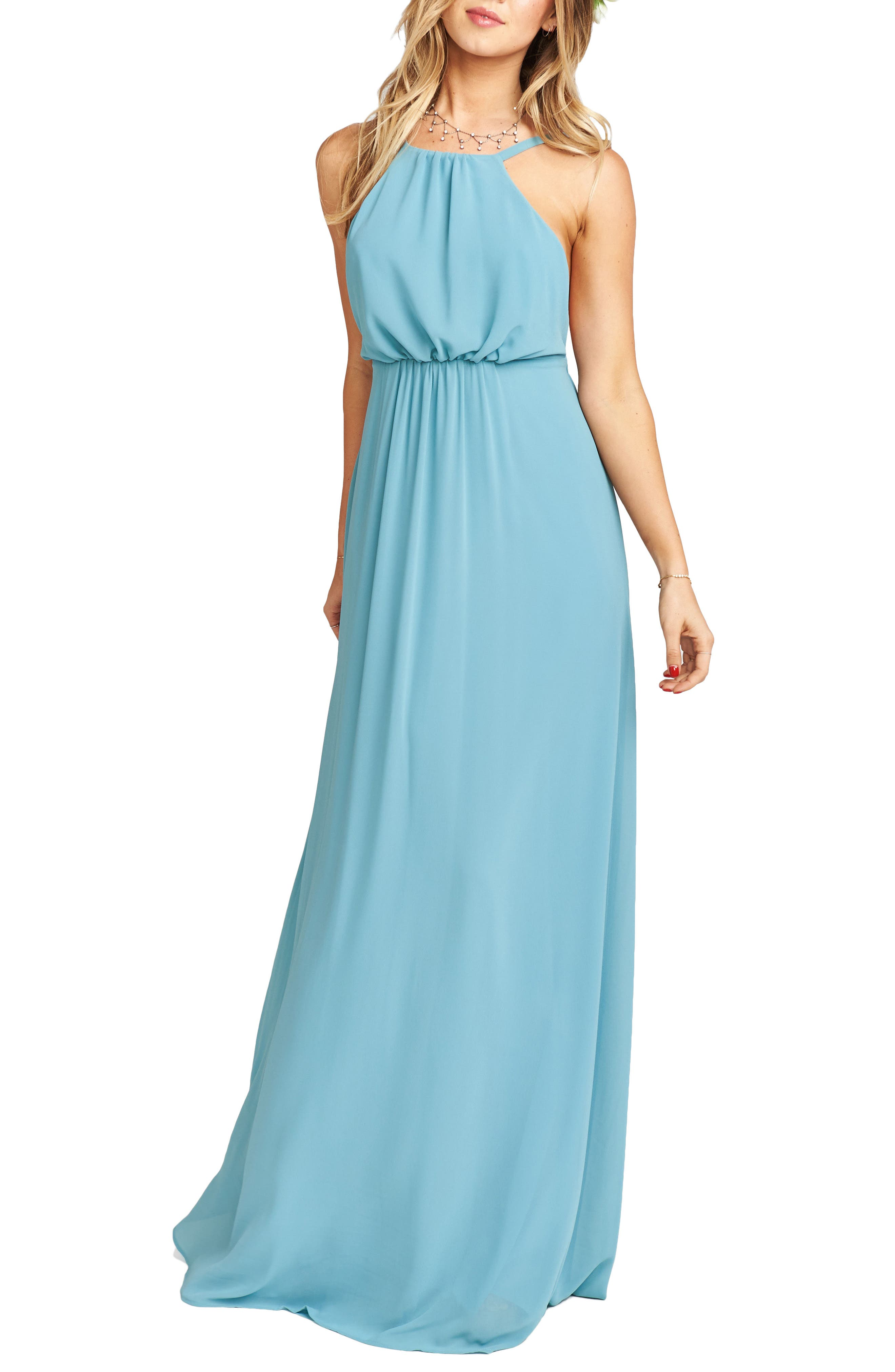 Amanda Open Back Blouson Gown,                             Main thumbnail 5, color,