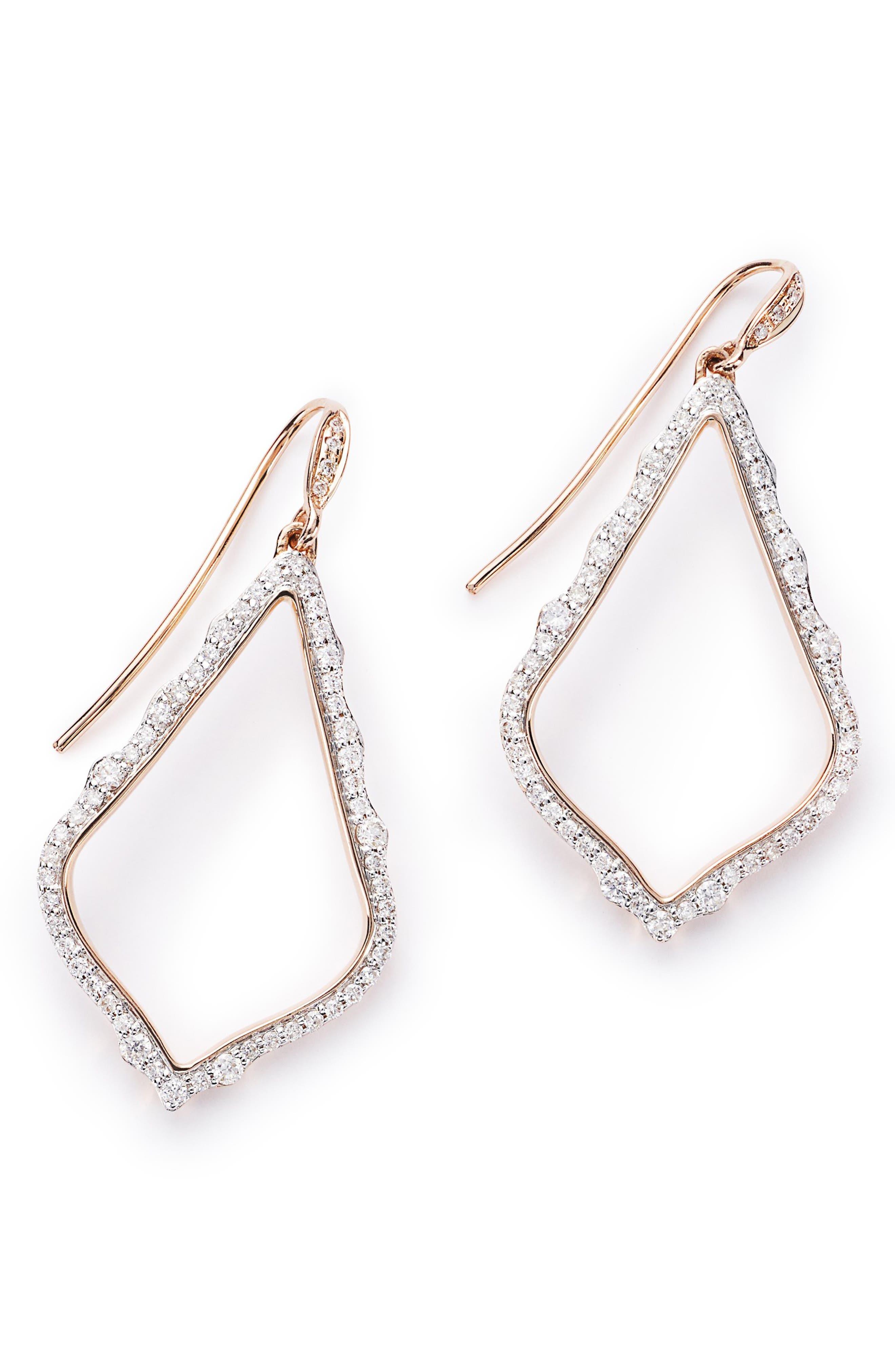 KENDRA SCOTT,                             Sophia Diamond & Rose Gold Drop Earrings,                             Main thumbnail 1, color,                             14K RSG WHITE DIAMOND