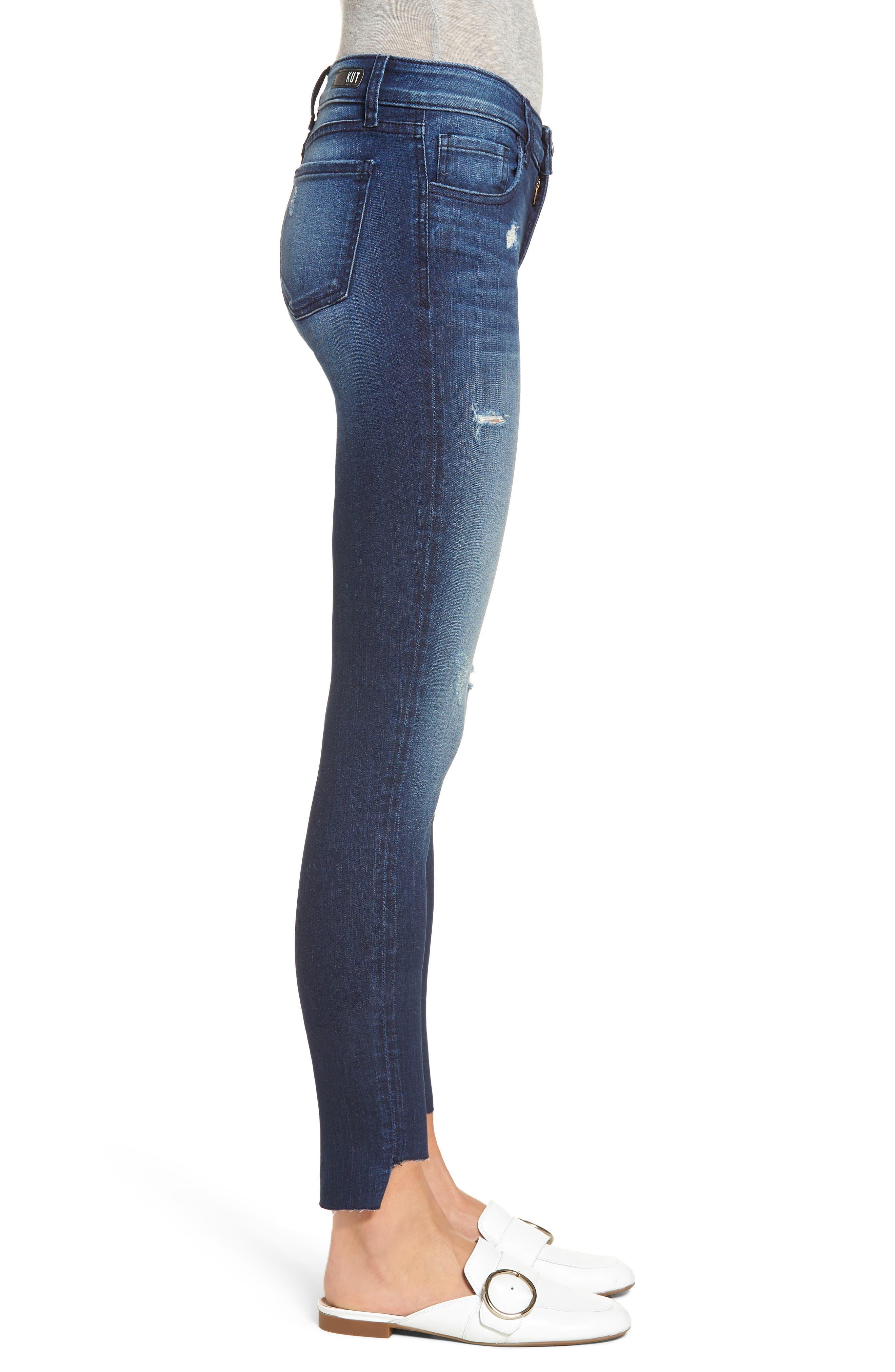 Connie Step Hem Skinny Jeans,                             Alternate thumbnail 3, color,                             CLEAN