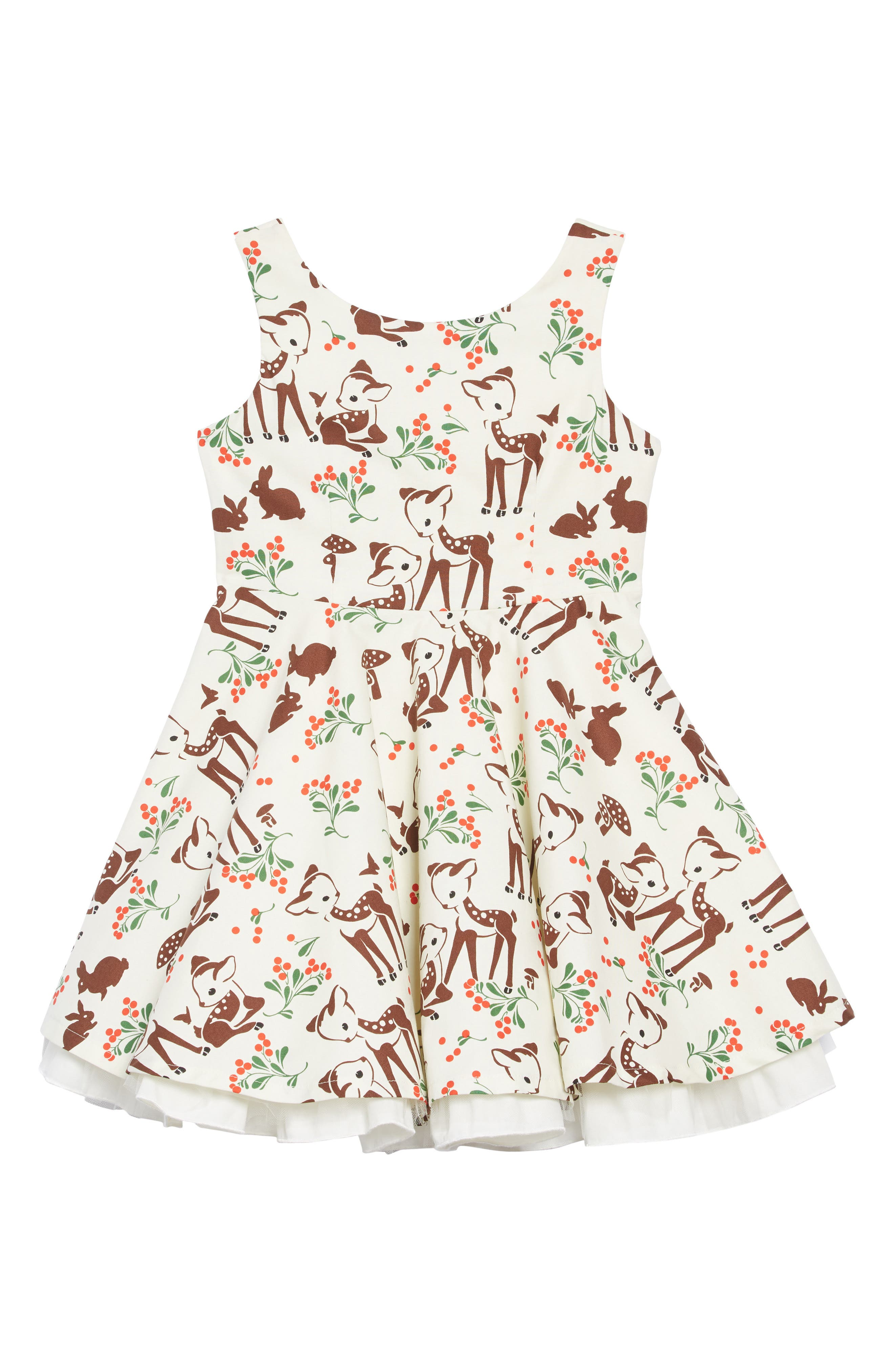 Girls Fiveloaves Twofish Holiday Deer Party Dress