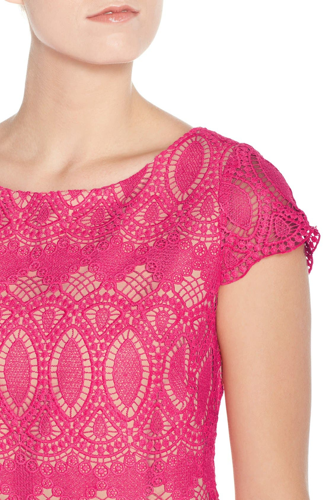 Scalloped Lace Sheath Dress,                             Alternate thumbnail 6, color,                             660