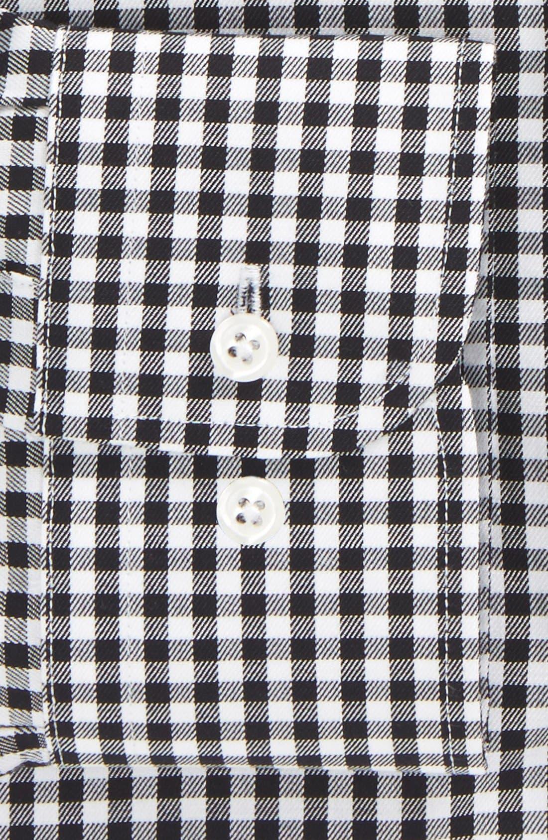 Trim Fit Non-Iron Gingham Dress Shirt,                             Alternate thumbnail 5, color,                             BLACK ROCK