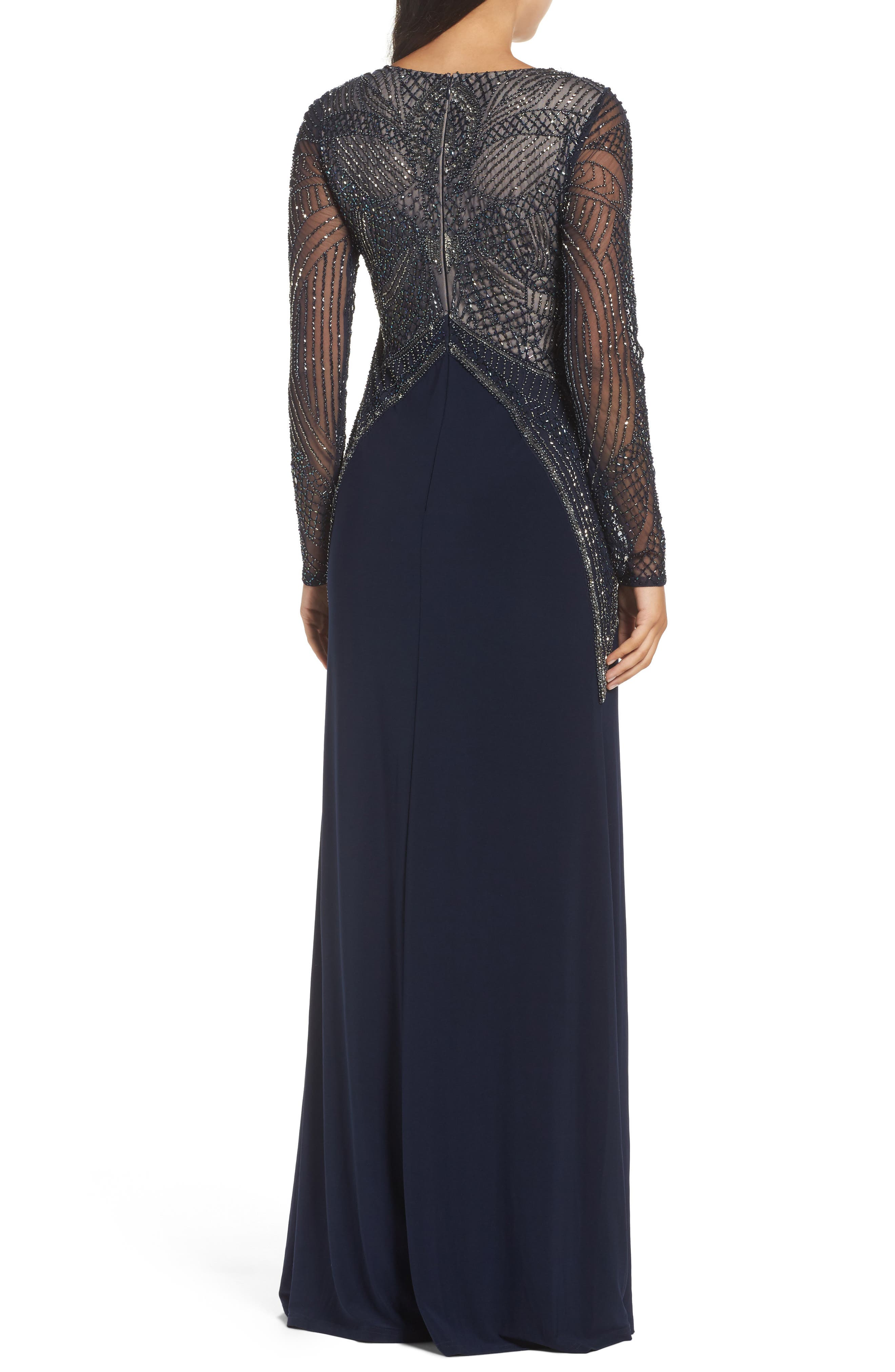 Beaded Long Sleeve Gown,                             Alternate thumbnail 2, color,                             414