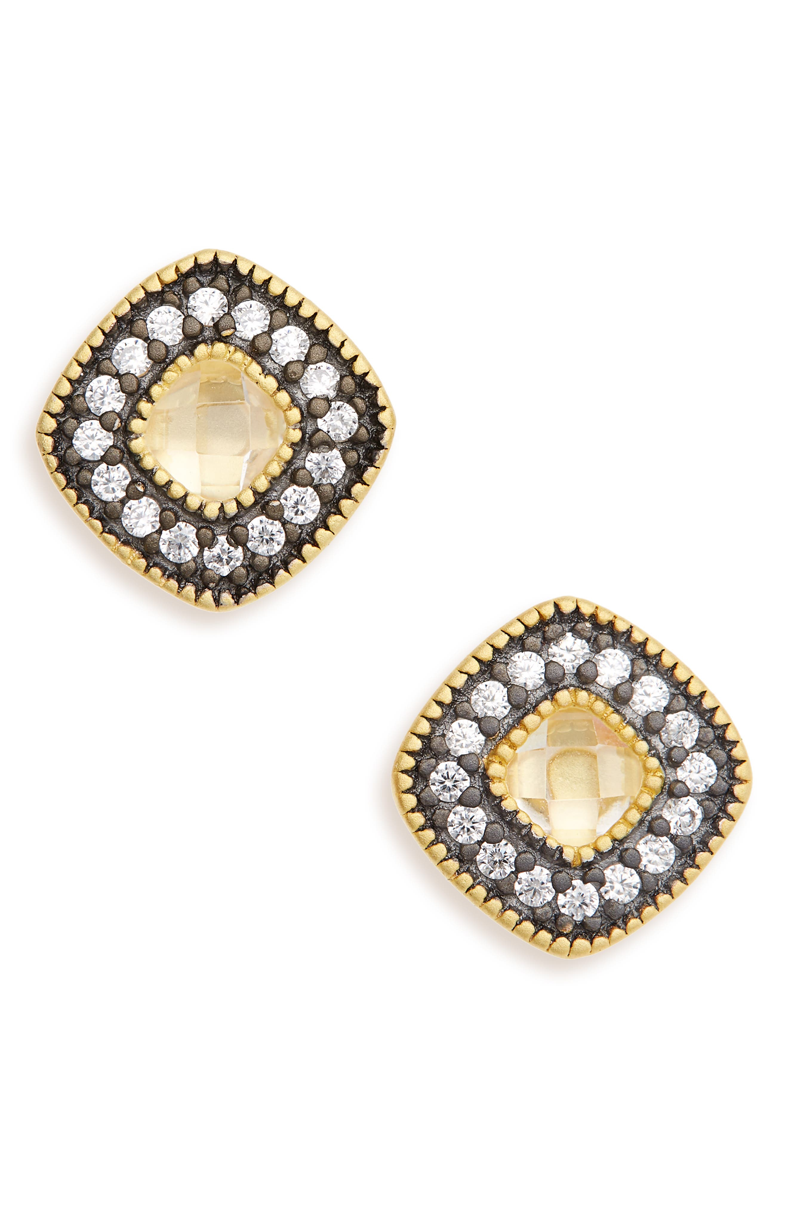 Single Stud Earrings,                         Main,                         color, GOLD/ BLACK