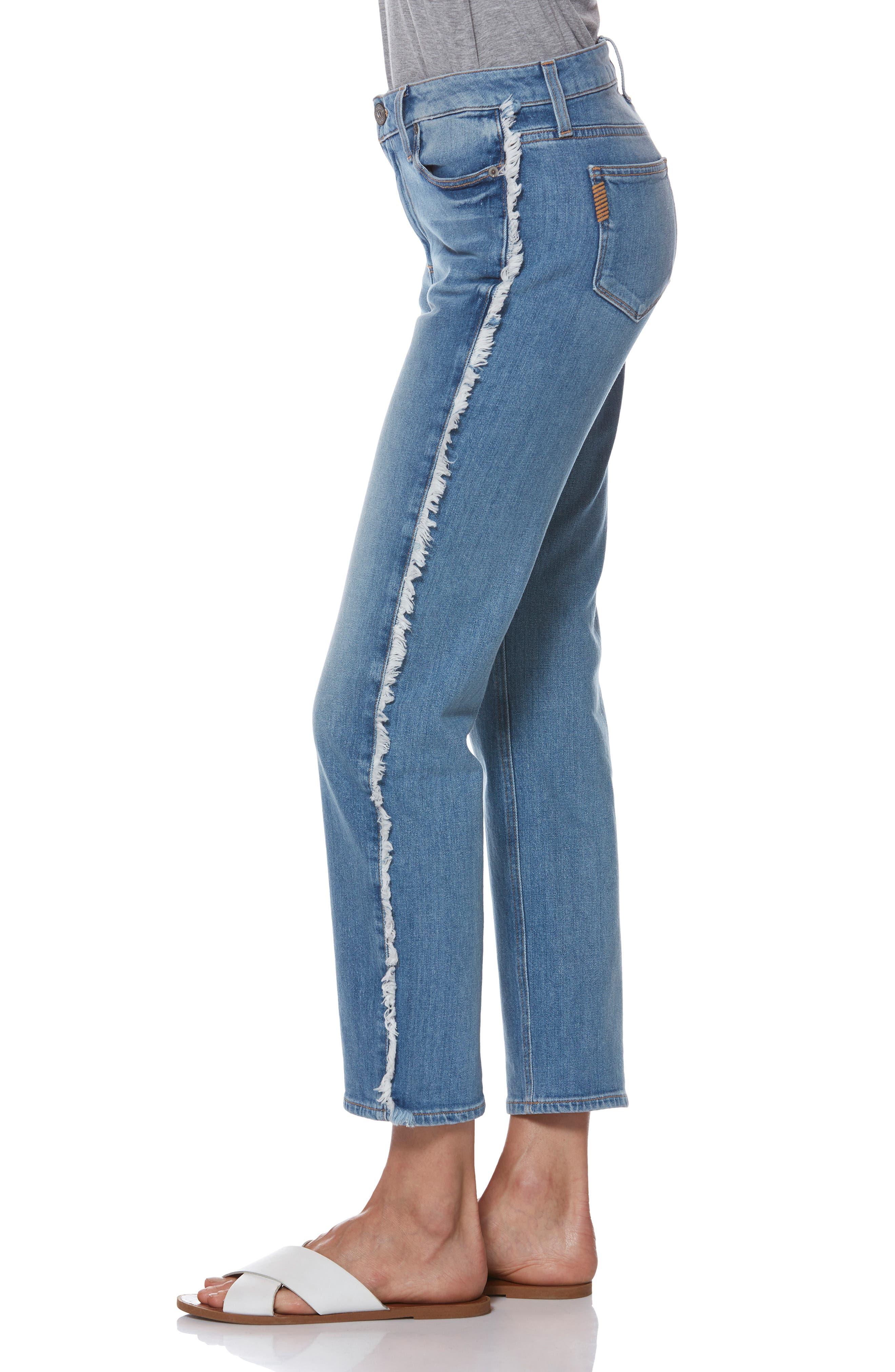 Noella Frayed Side Seam Ankle Jeans,                             Alternate thumbnail 3, color,                             BIELLA