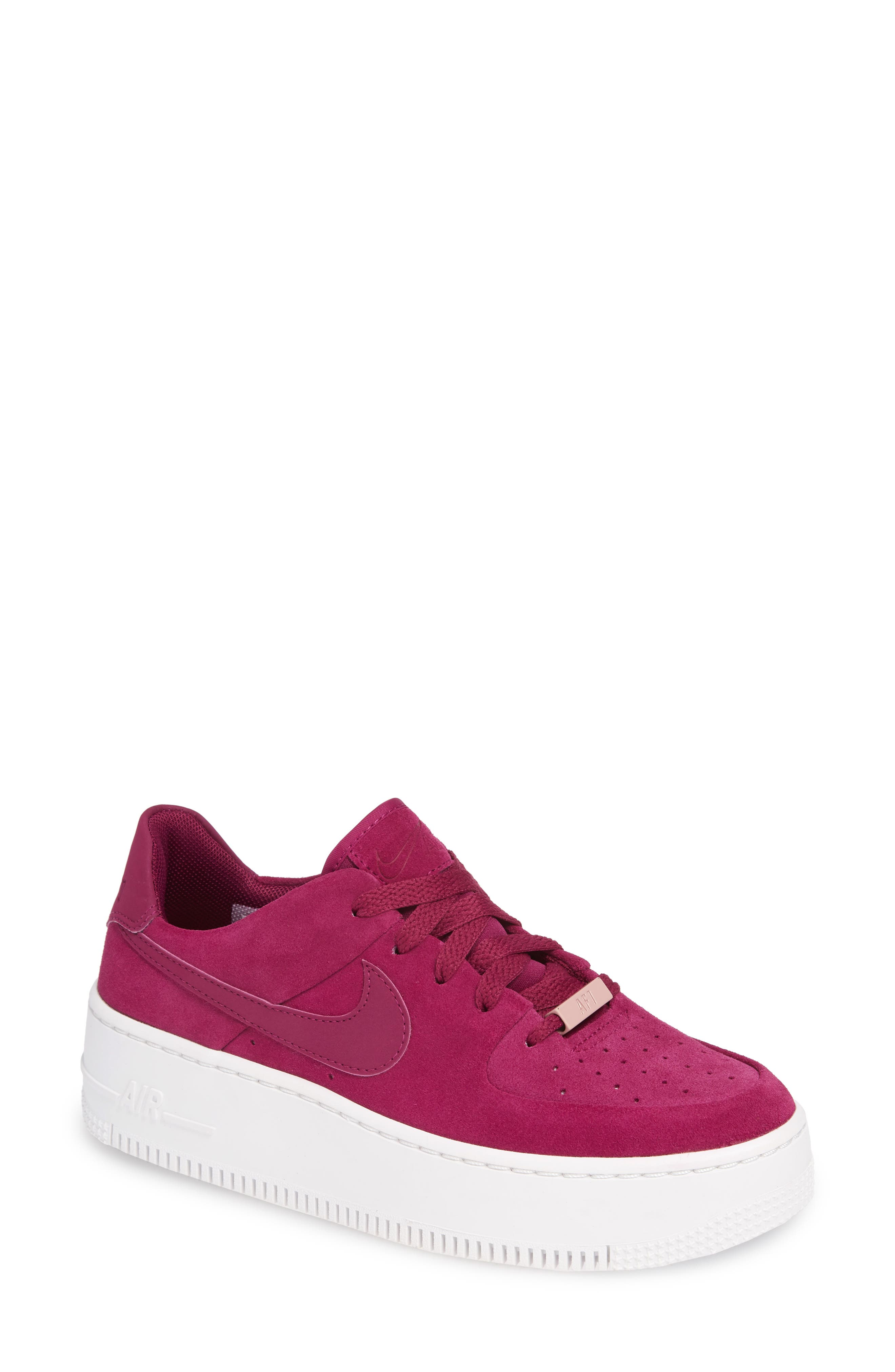 NIKE,                             Air Force 1 Sage Low Platform Sneaker,                             Main thumbnail 1, color,                             TRUE BERRY/ PLUM CHALK
