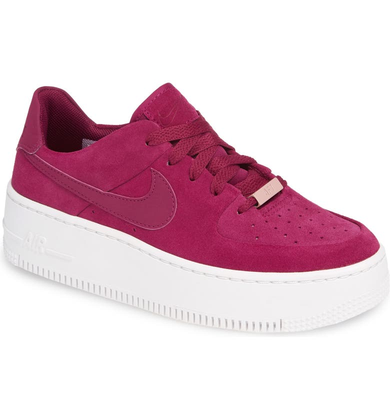save off 59dbe 08542 NIKE Air Force 1 Sage Low Platform Sneaker, Main, color, TRUE BERRY