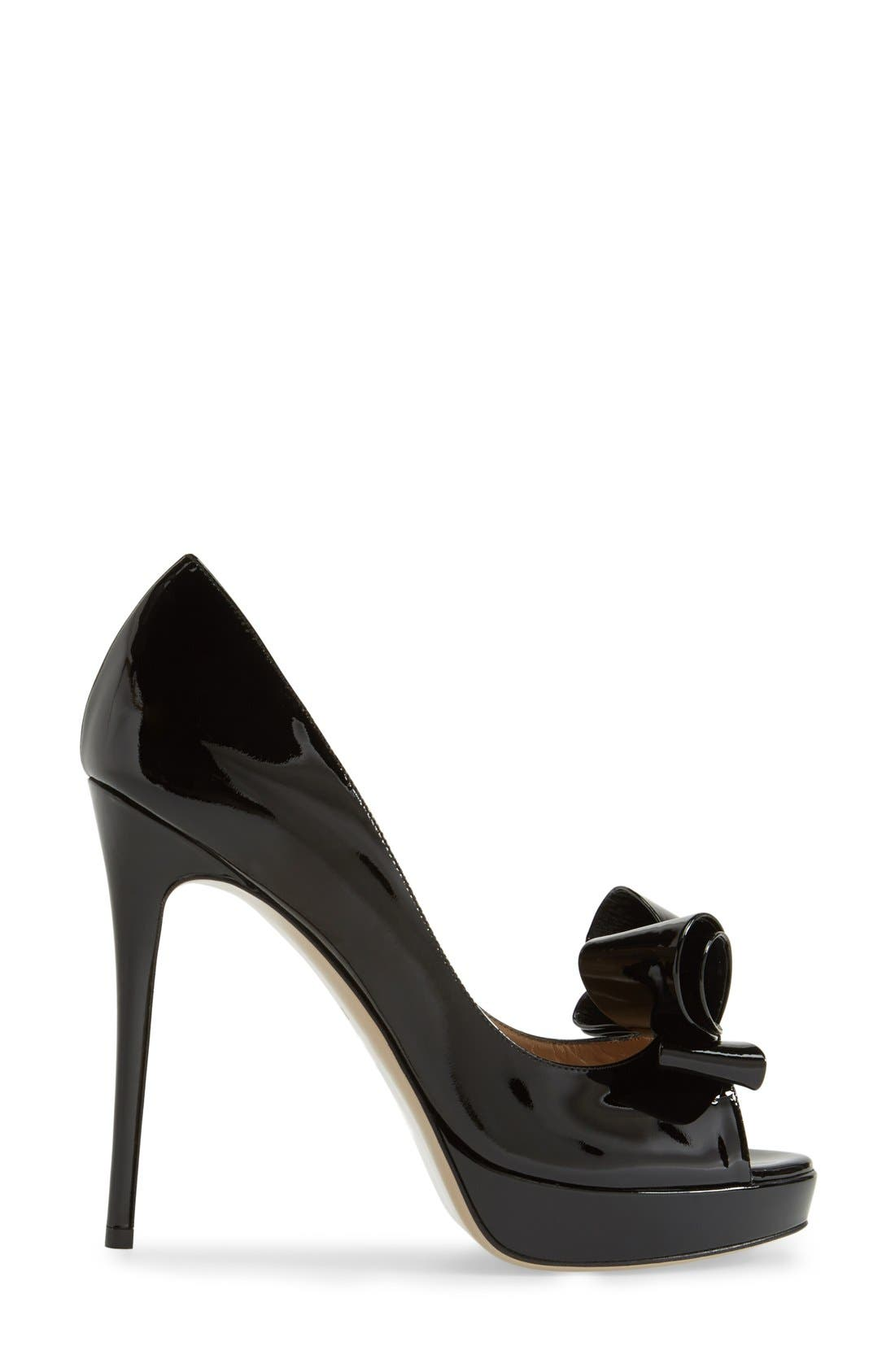 VALENTINO GARAVANI,                             Couture Bow Platform Pump,                             Alternate thumbnail 2, color,                             001