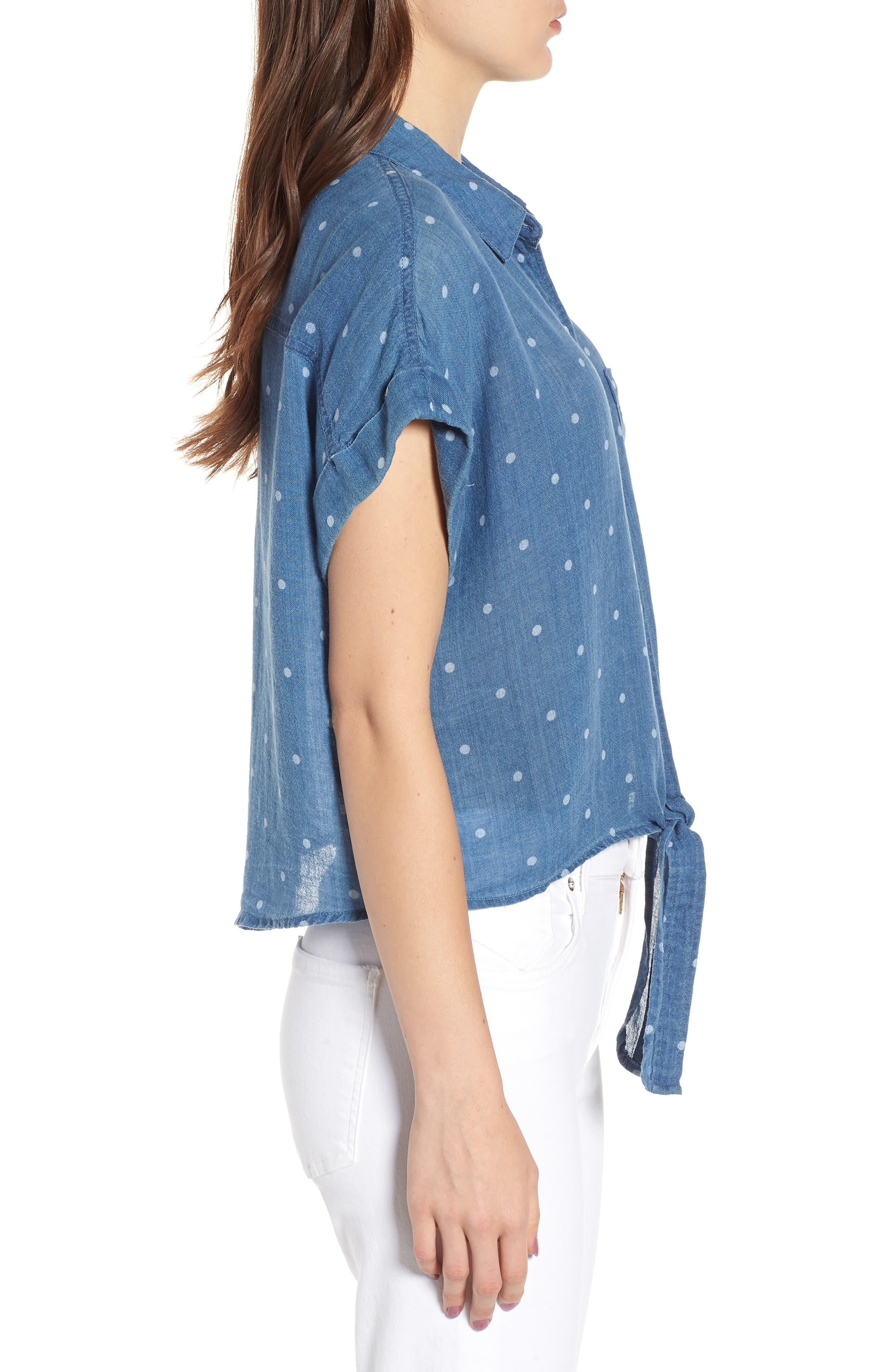 Amelie Tie Front Shirt,                             Alternate thumbnail 3, color,                             INDIGO WHITE POLKA DOTS