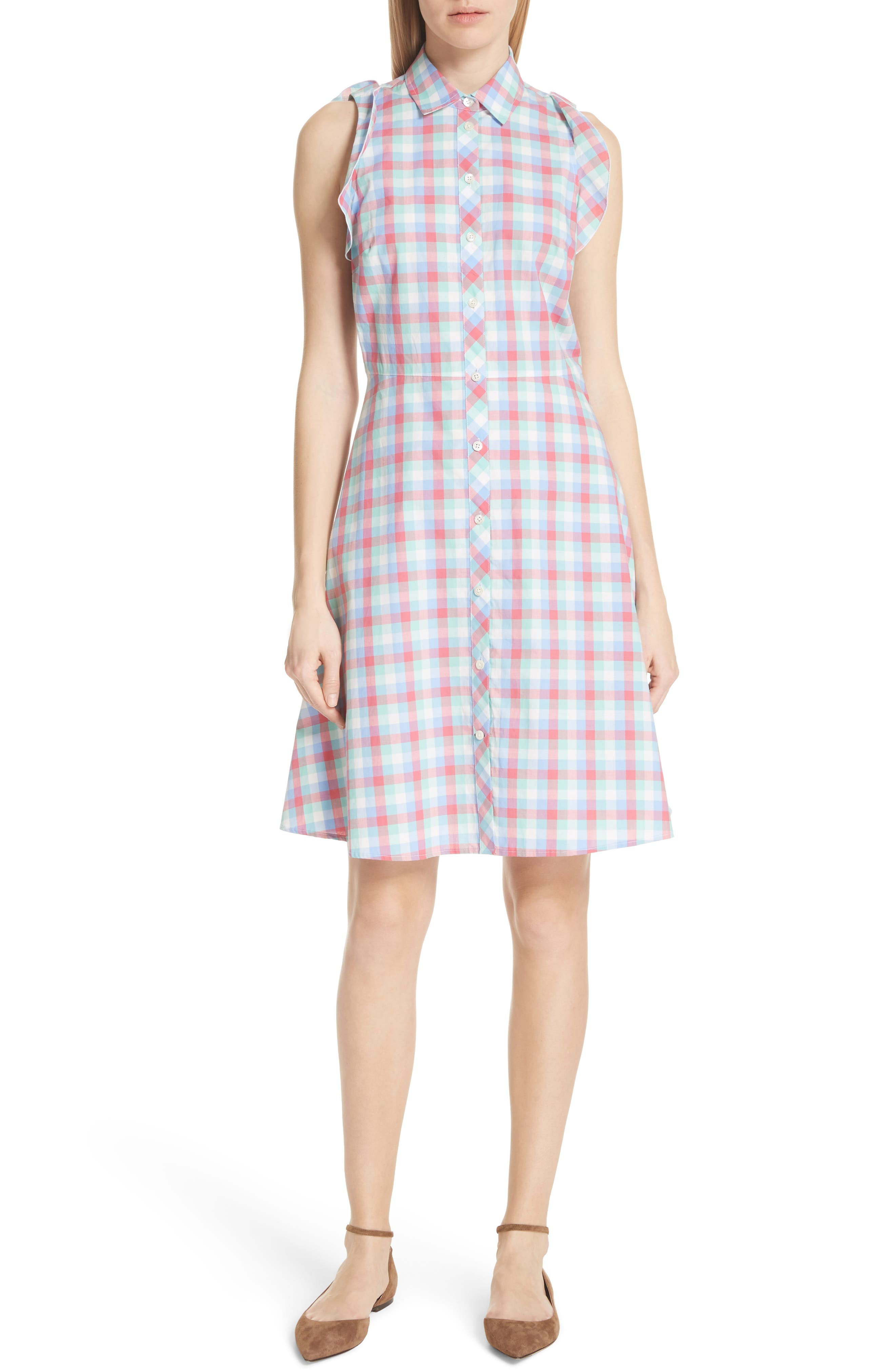 madras poplin shirtdress,                             Main thumbnail 1, color,