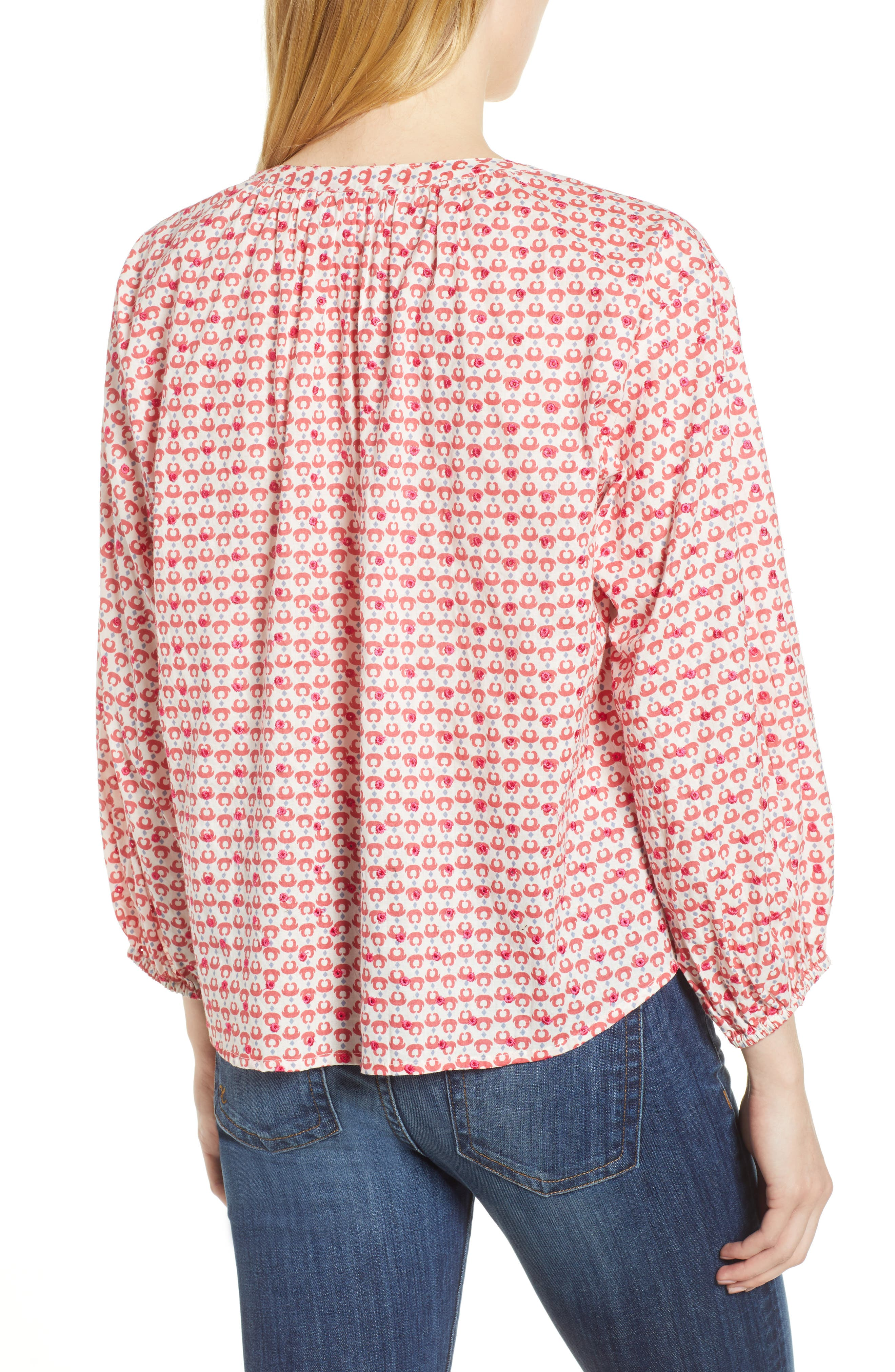 Embroidered Print Blouse,                             Alternate thumbnail 2, color,