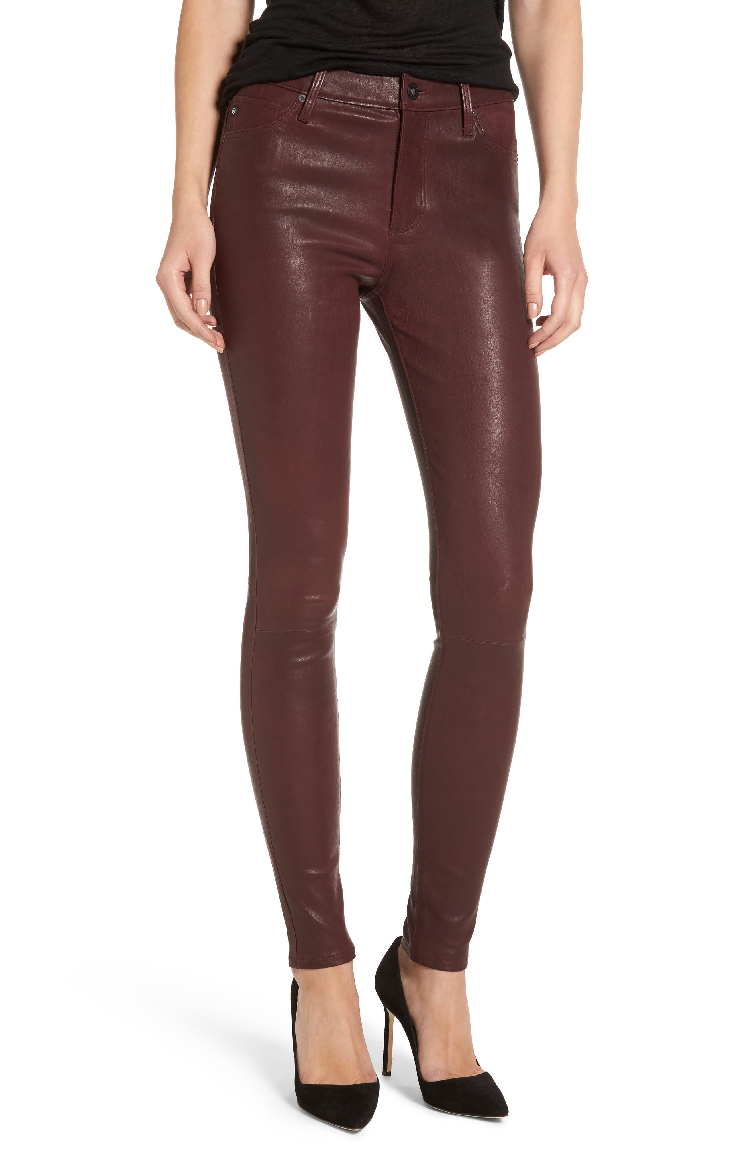 Farrah Leather Skinny Jeans,                             Main thumbnail 3, color,