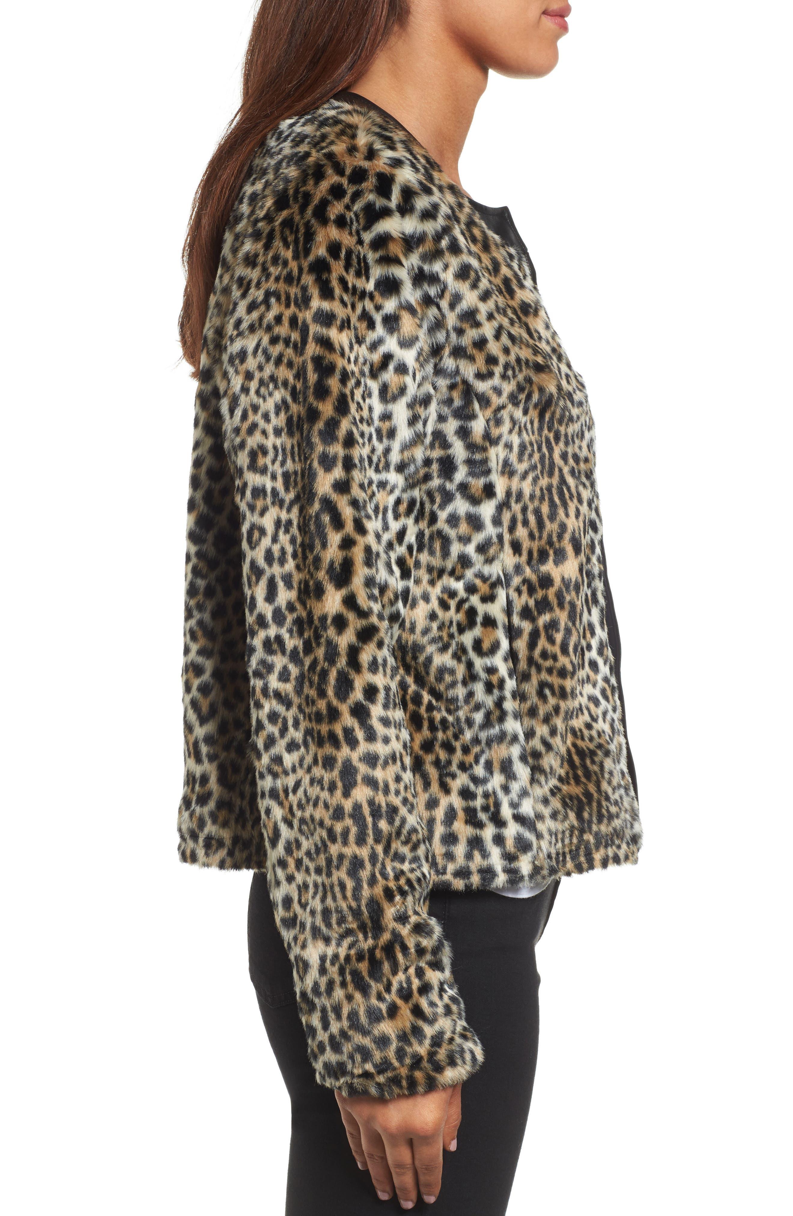 Courtney Faux Leopard Fur Jacket,                             Alternate thumbnail 3, color,                             209