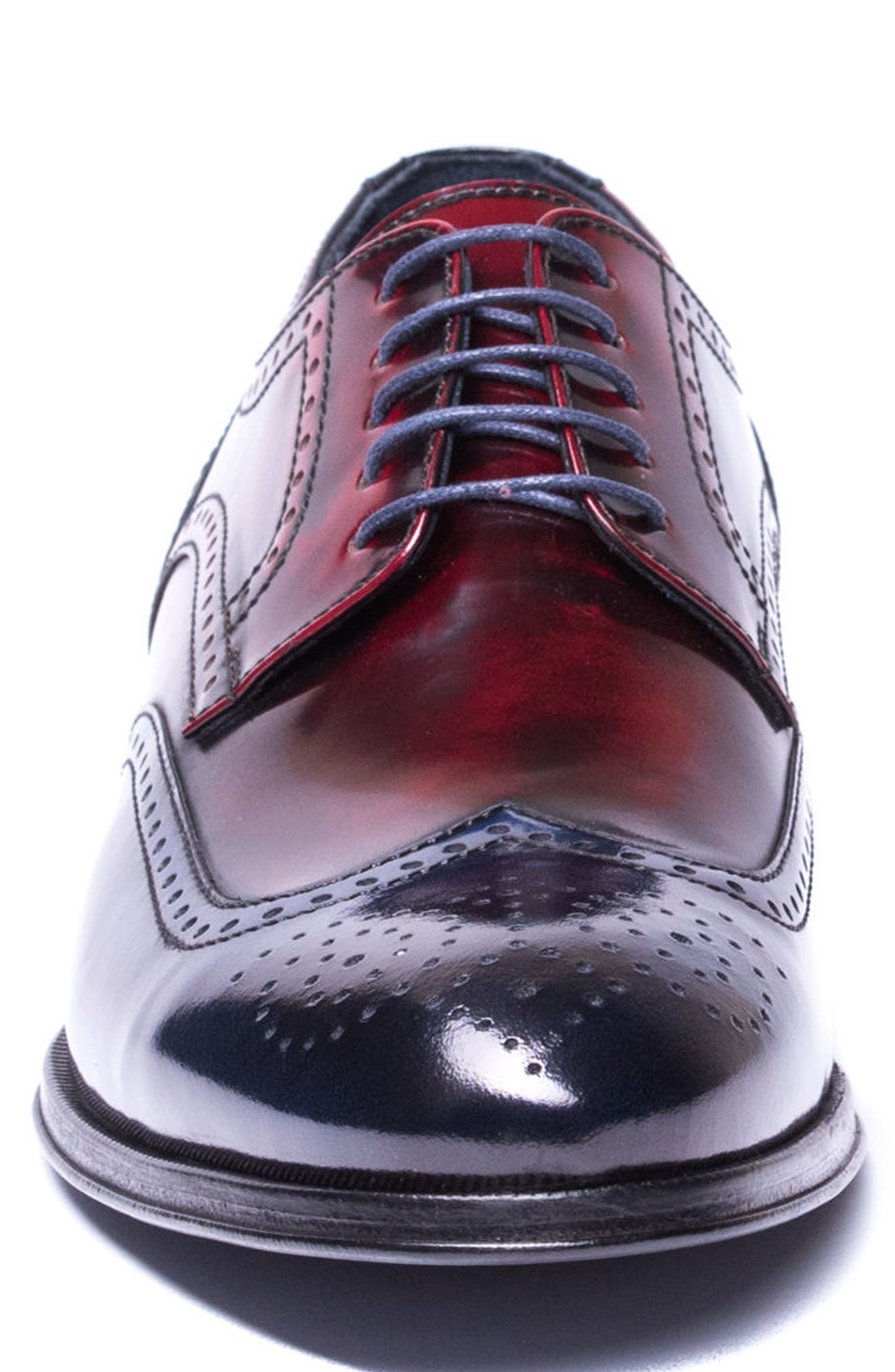 Bryce Wingtip Derby,                             Alternate thumbnail 4, color,                             RED/ BLUE LEATHER