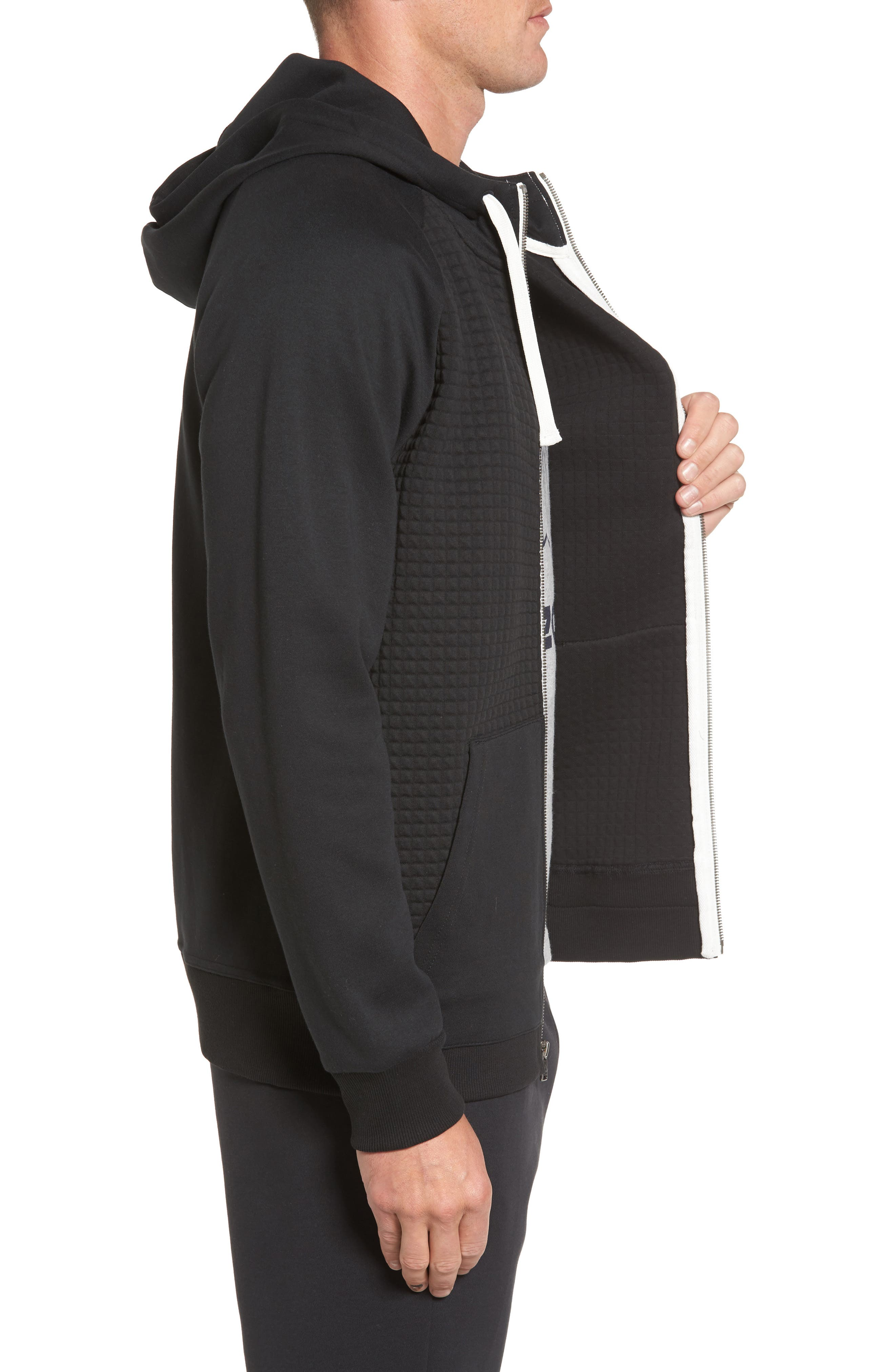 Classic Quilted Zip Hoodie,                             Alternate thumbnail 7, color,