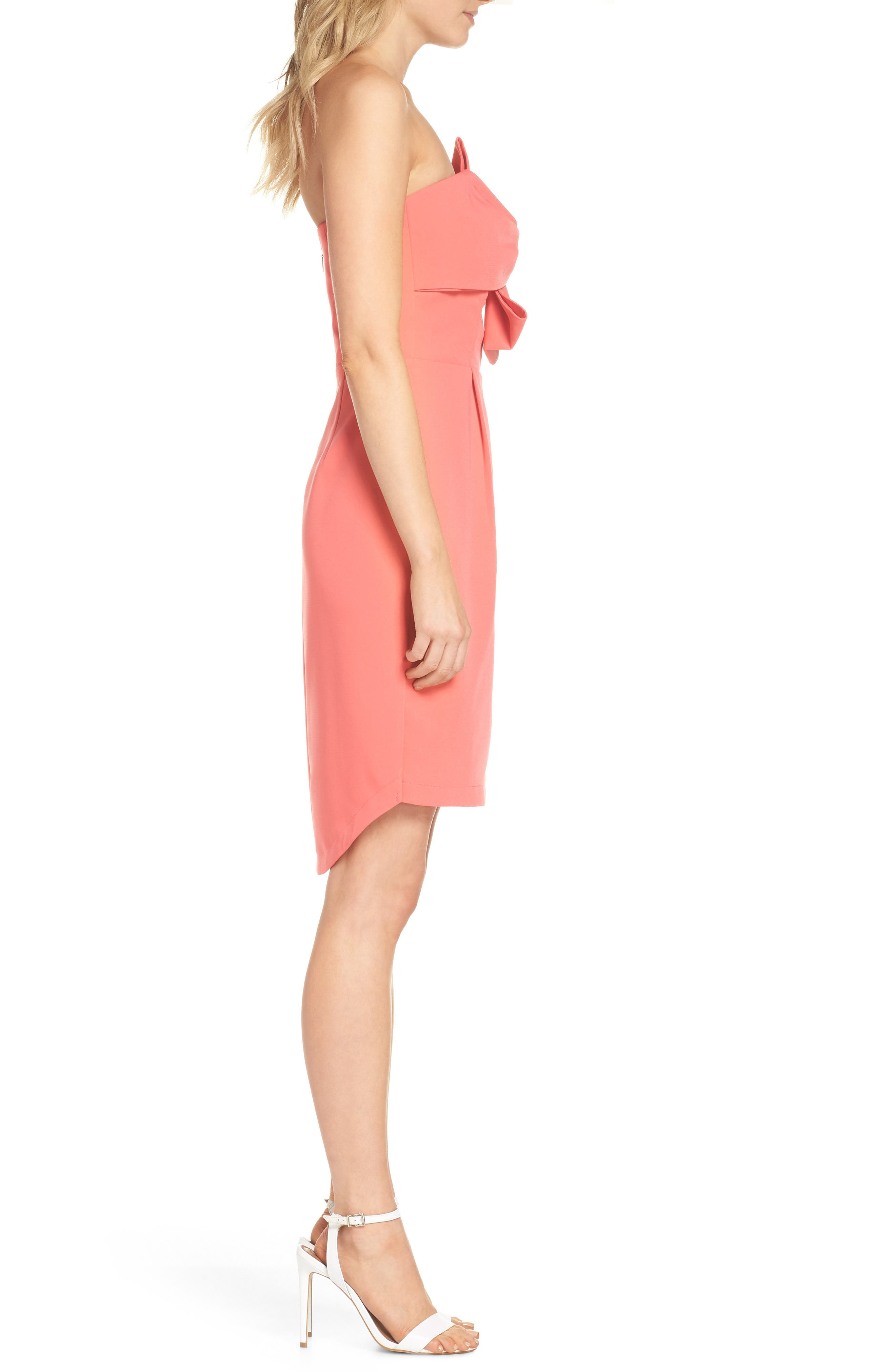 Harper Knotted Strapless Minidress,                             Alternate thumbnail 3, color,                             CORAL