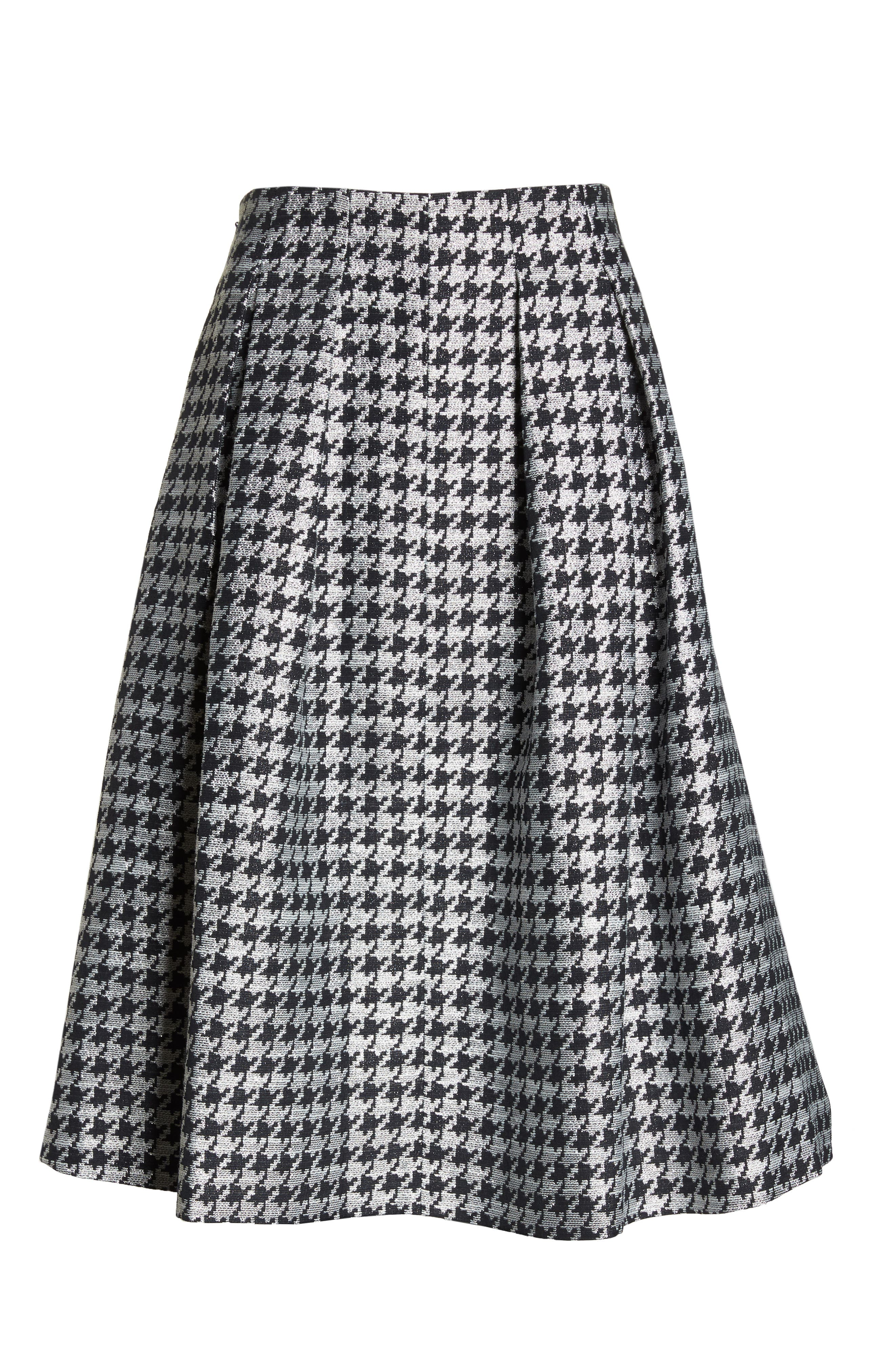 Houndstooth Pleated Skirt,                             Alternate thumbnail 7, color,                             001