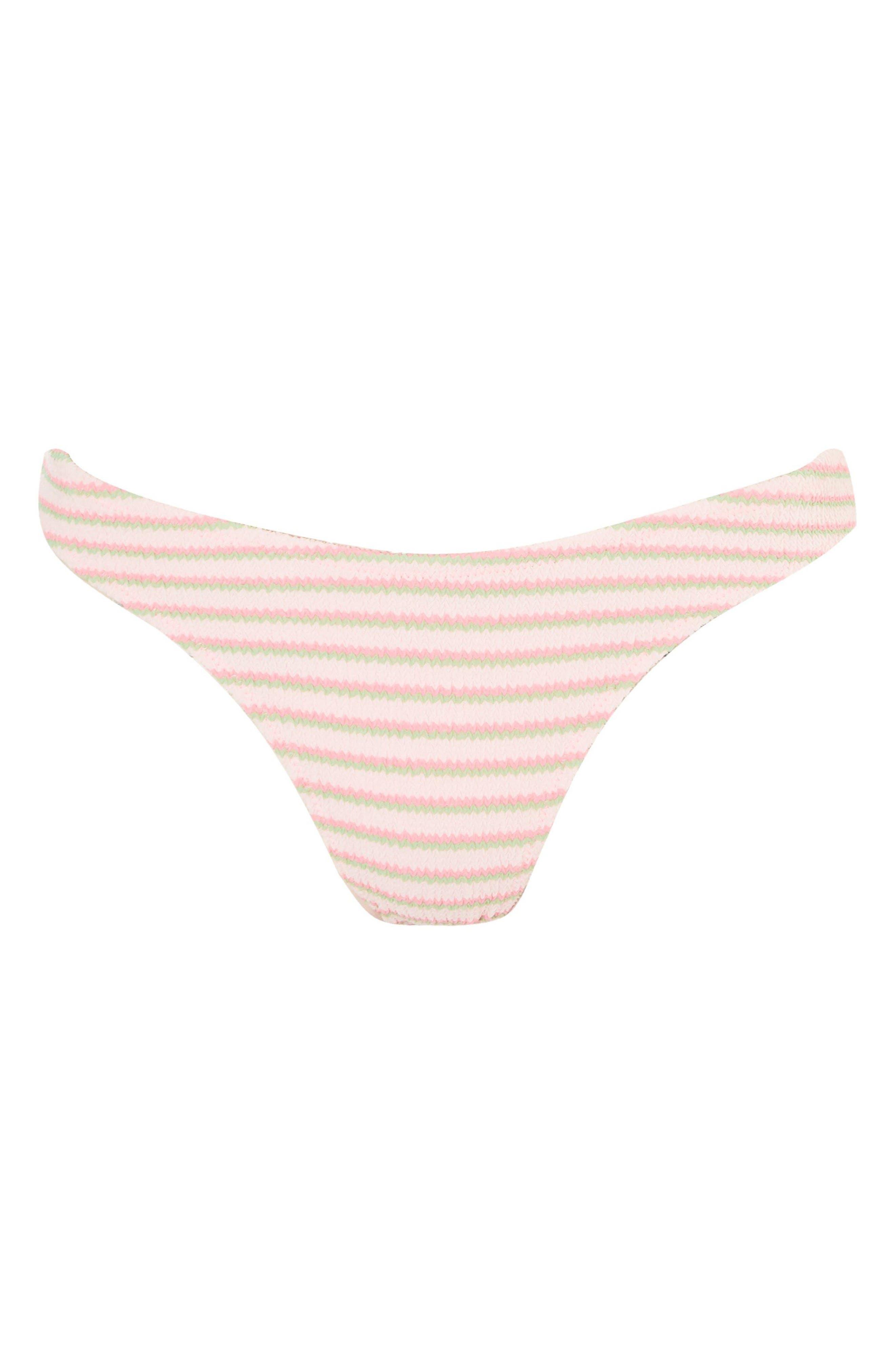 Pastel Stripe Shirred High Leg Bikini Bottomss,                             Alternate thumbnail 3, color,