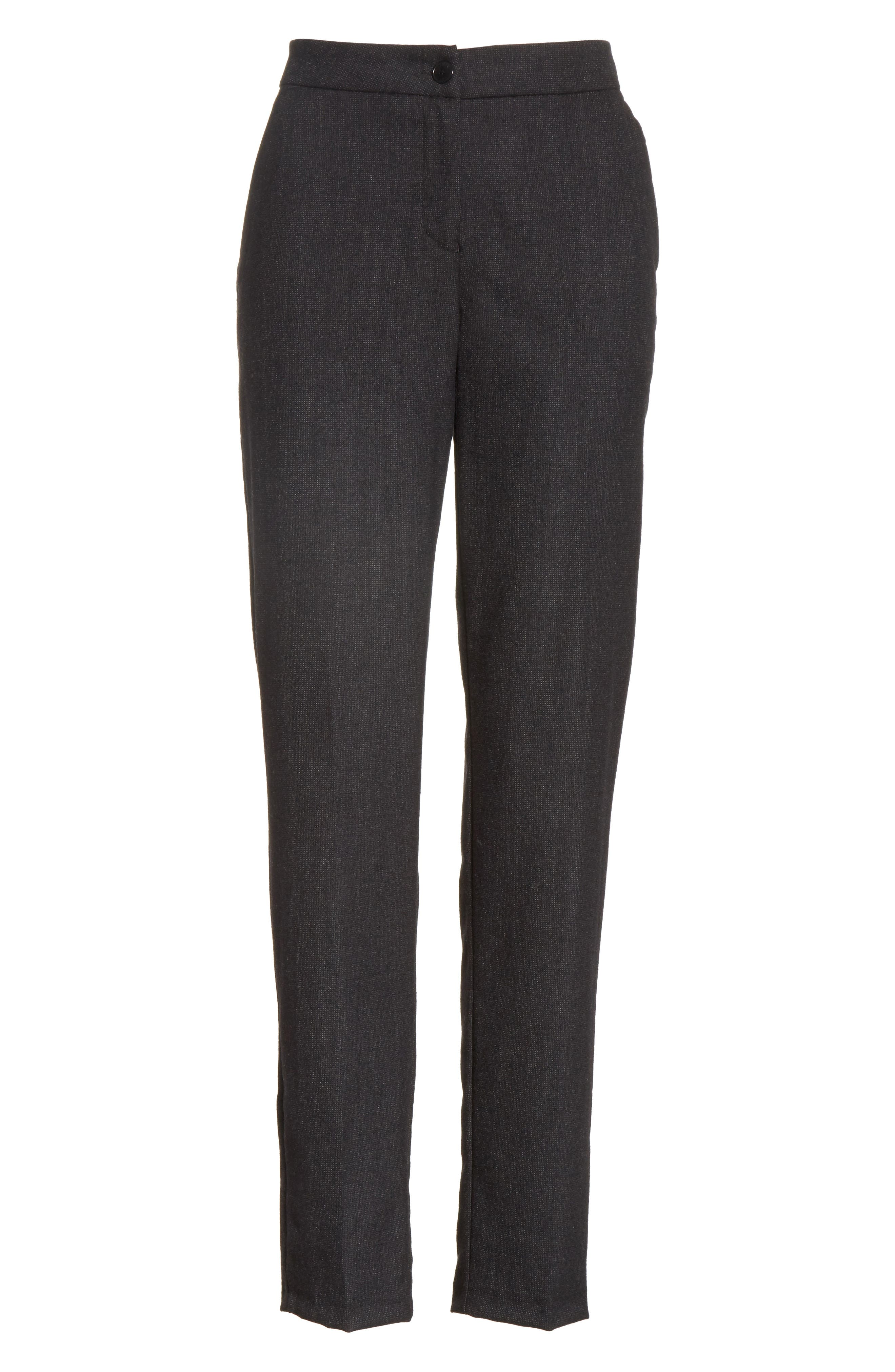 Armani Jeans Stretch Wool Slim Pants,                             Alternate thumbnail 6, color,                             001