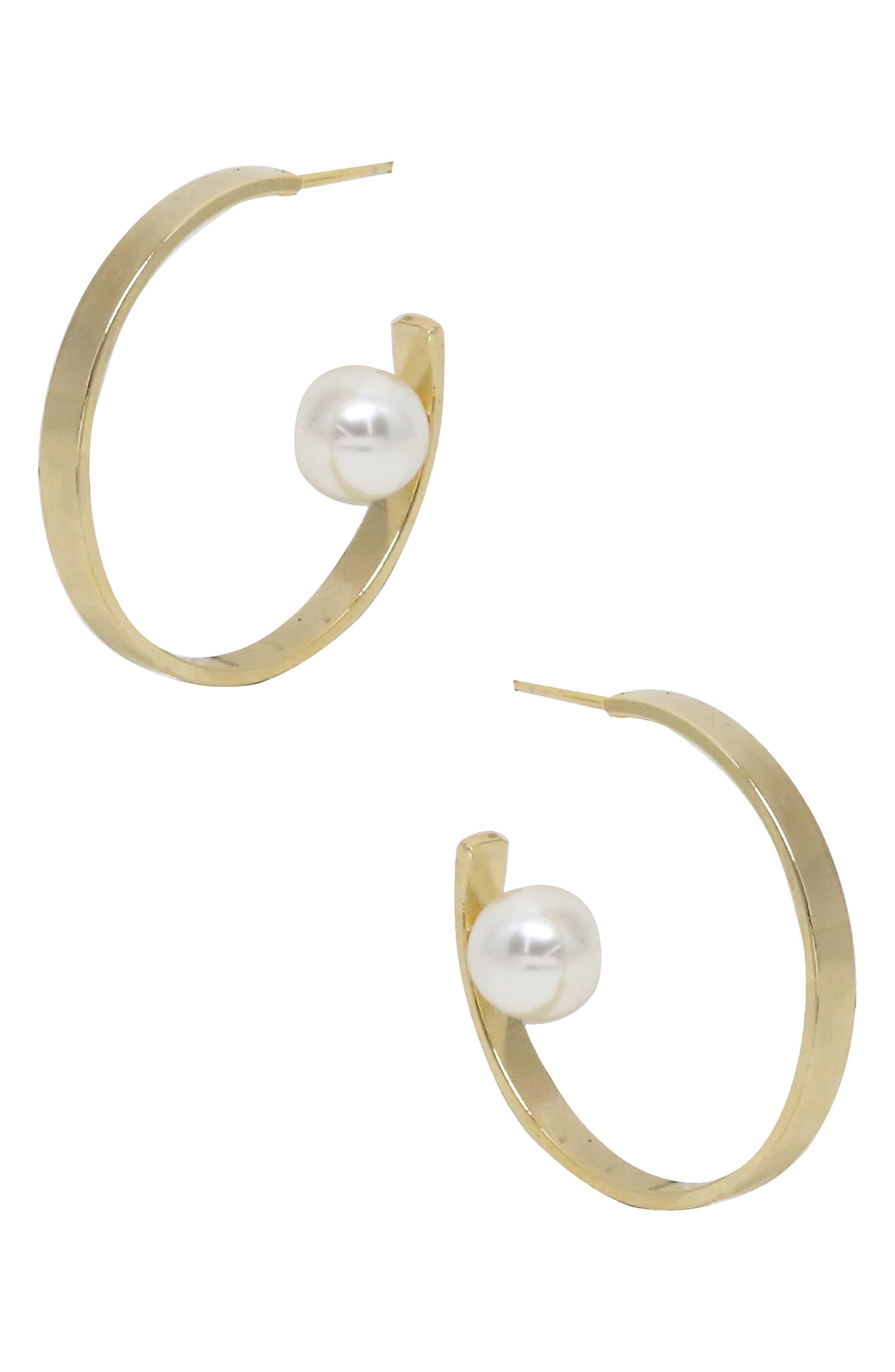 ETTIKA Imitation Pearl Hoop Earrings in Gold