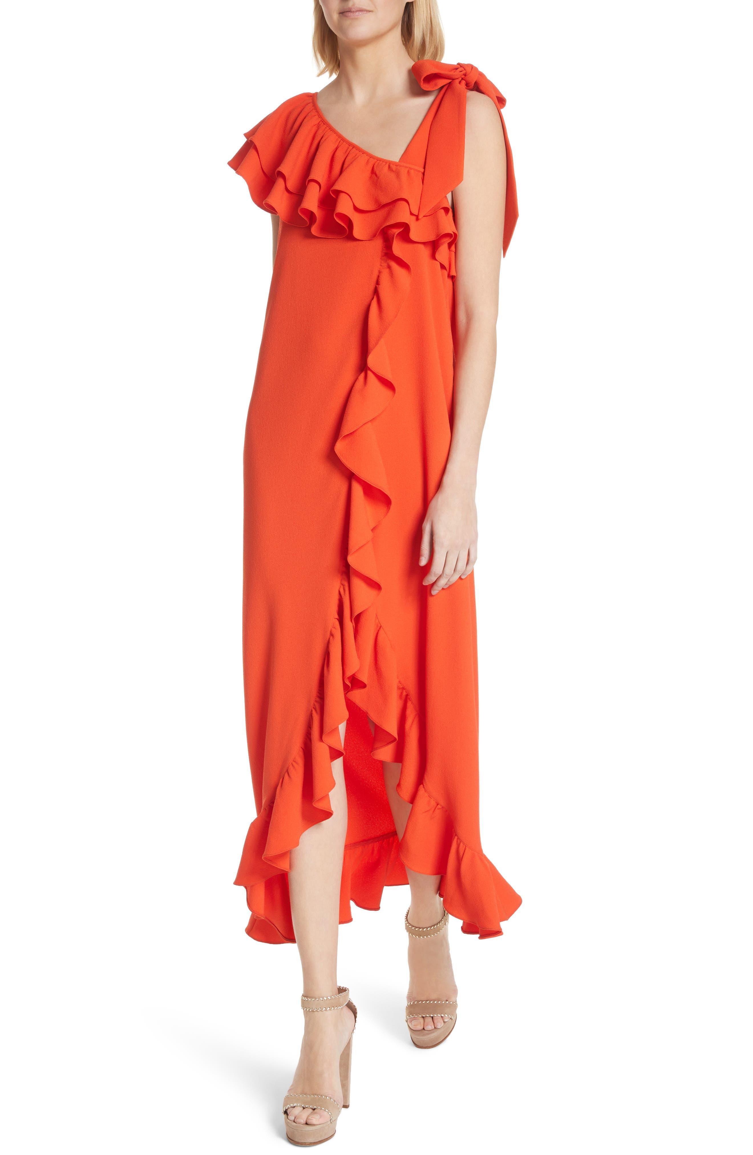 Clark Ruffle Maxi Dress,                             Alternate thumbnail 4, color,                             BIG APPLE RED