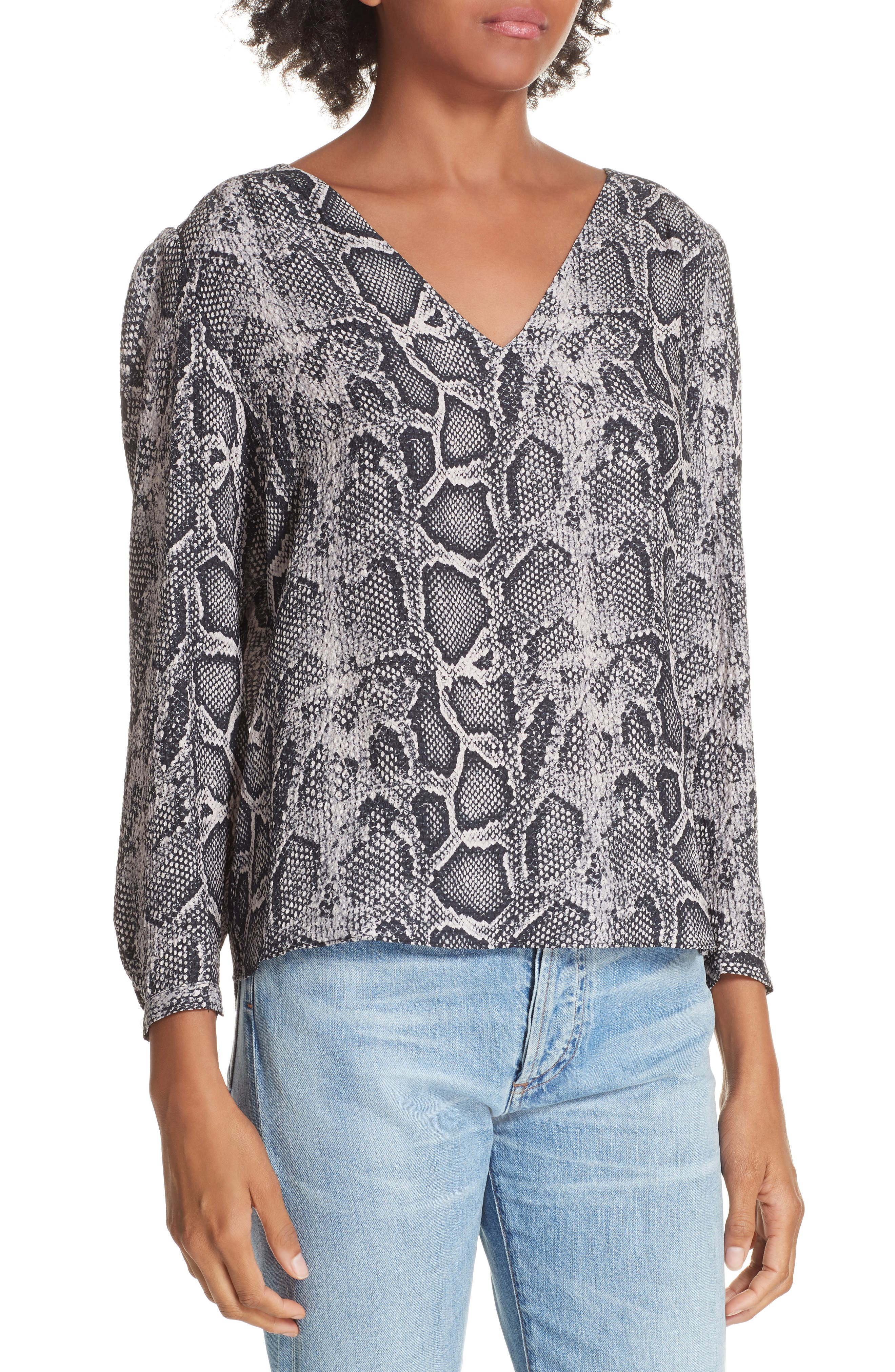 Snake Print Top,                             Alternate thumbnail 4, color,                             WASHED BLACK COMBO