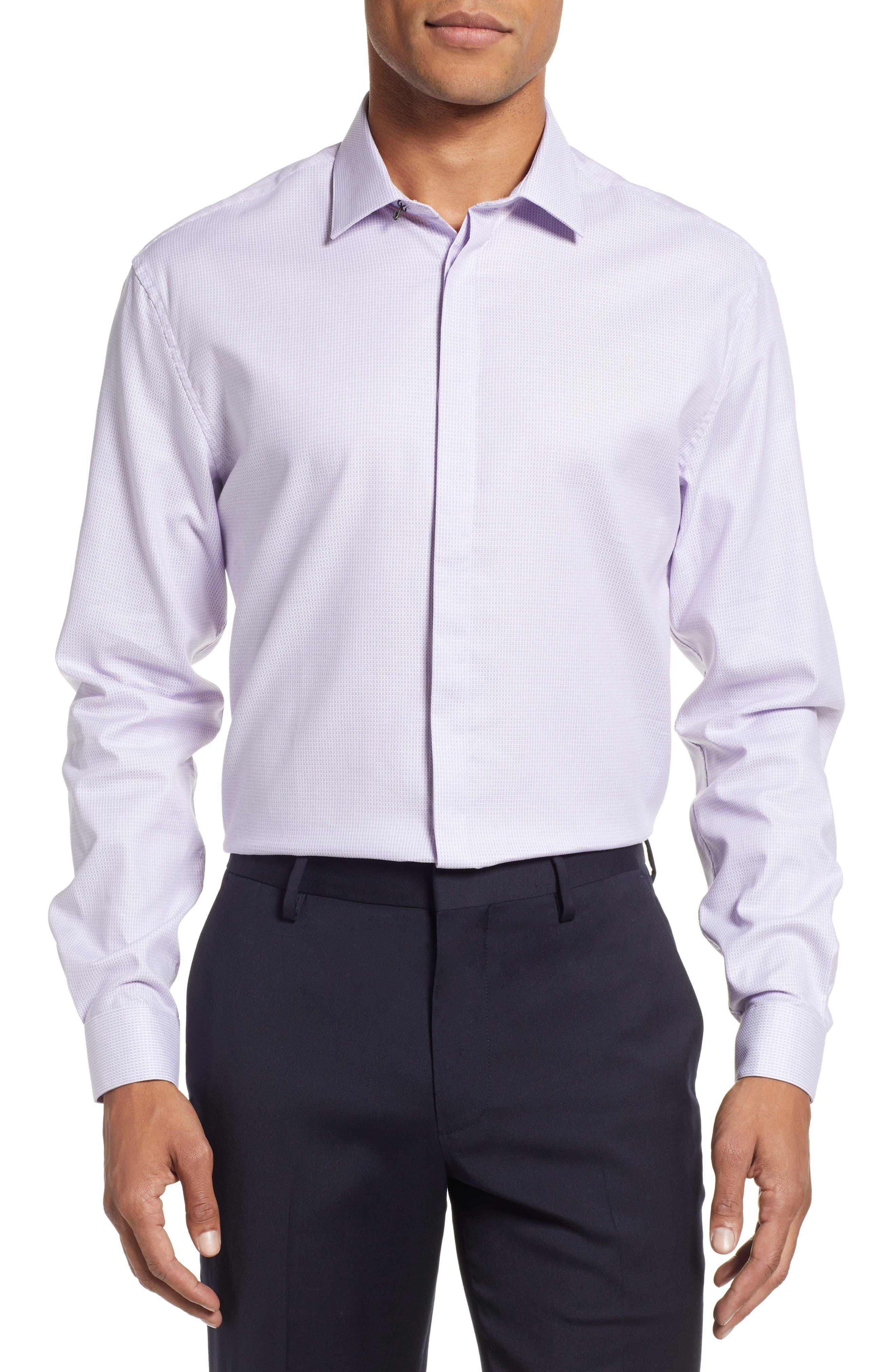 Slim Fit Stretch Check Dress Shirt,                         Main,                         color, LAVENDER