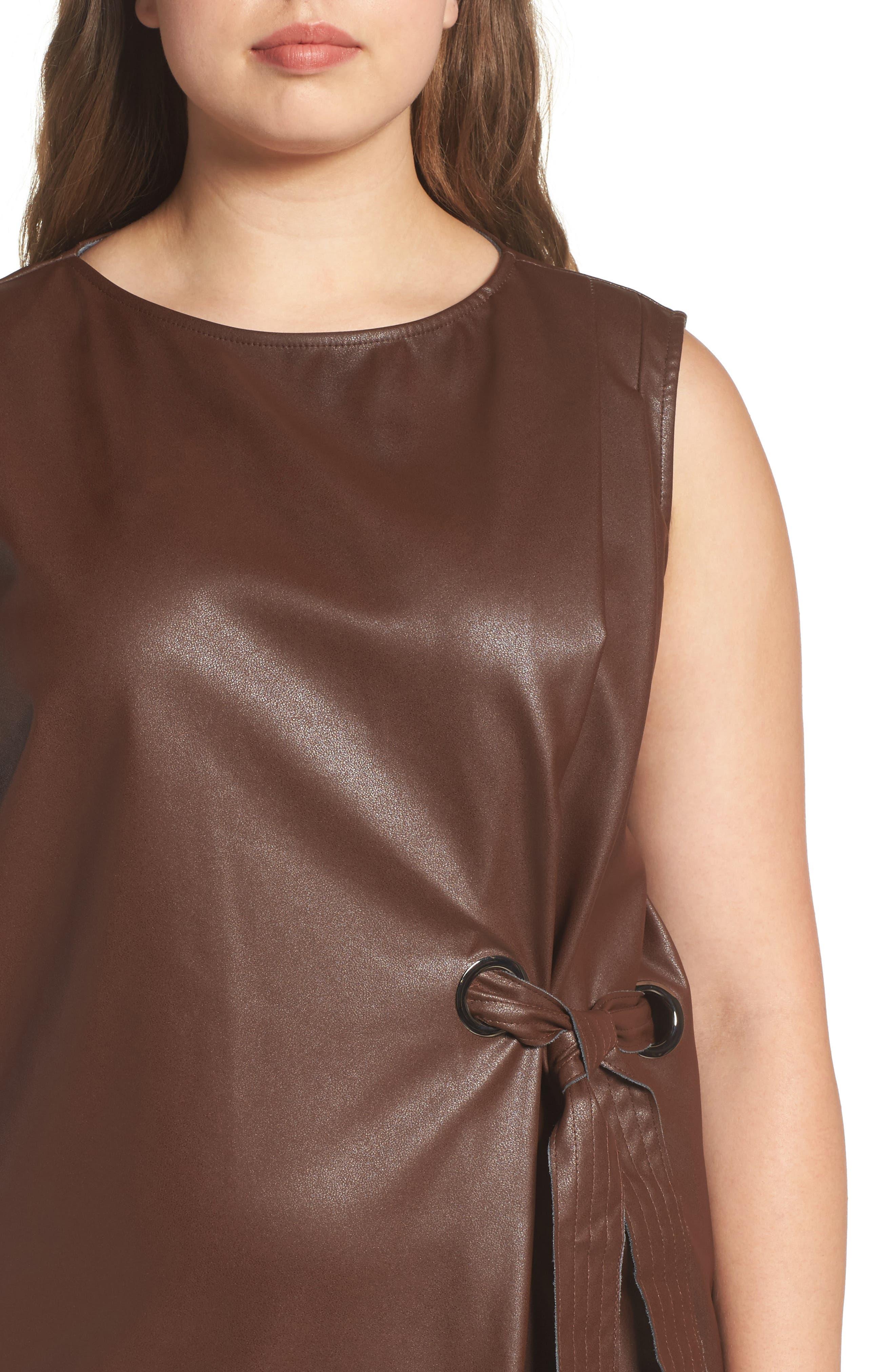 Faux Leather Shift Dress,                             Alternate thumbnail 4, color,                             230