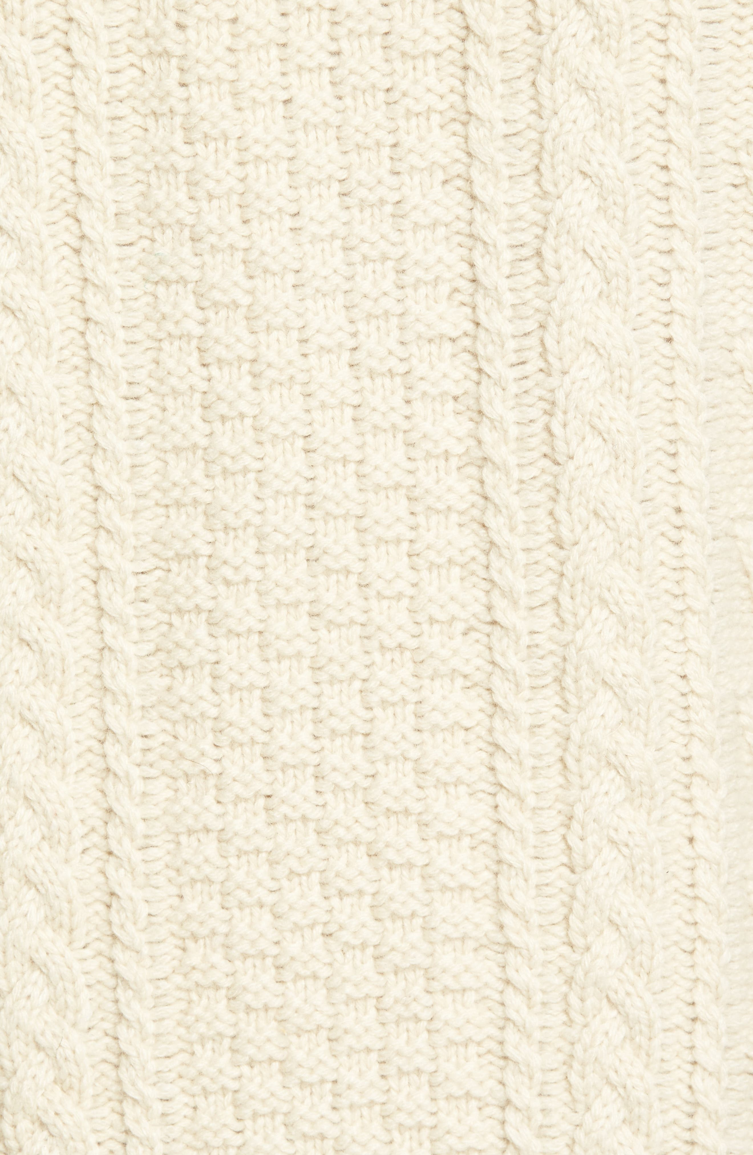 Fisherman Knit Wool Blend Sweater,                             Alternate thumbnail 5, color,                             OFF WHITE
