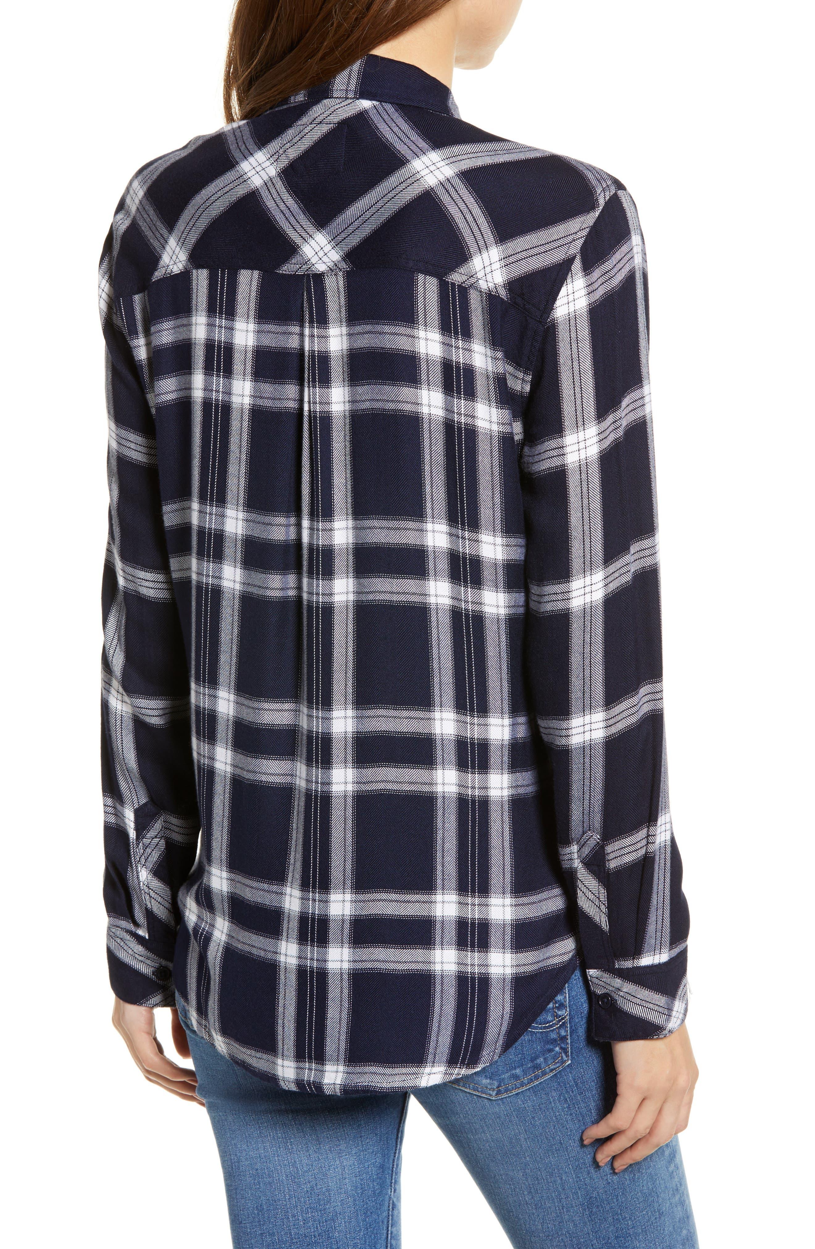 Liza Plaid Shirt,                             Alternate thumbnail 2, color,                             NAVY MIDNIGHT POWDER