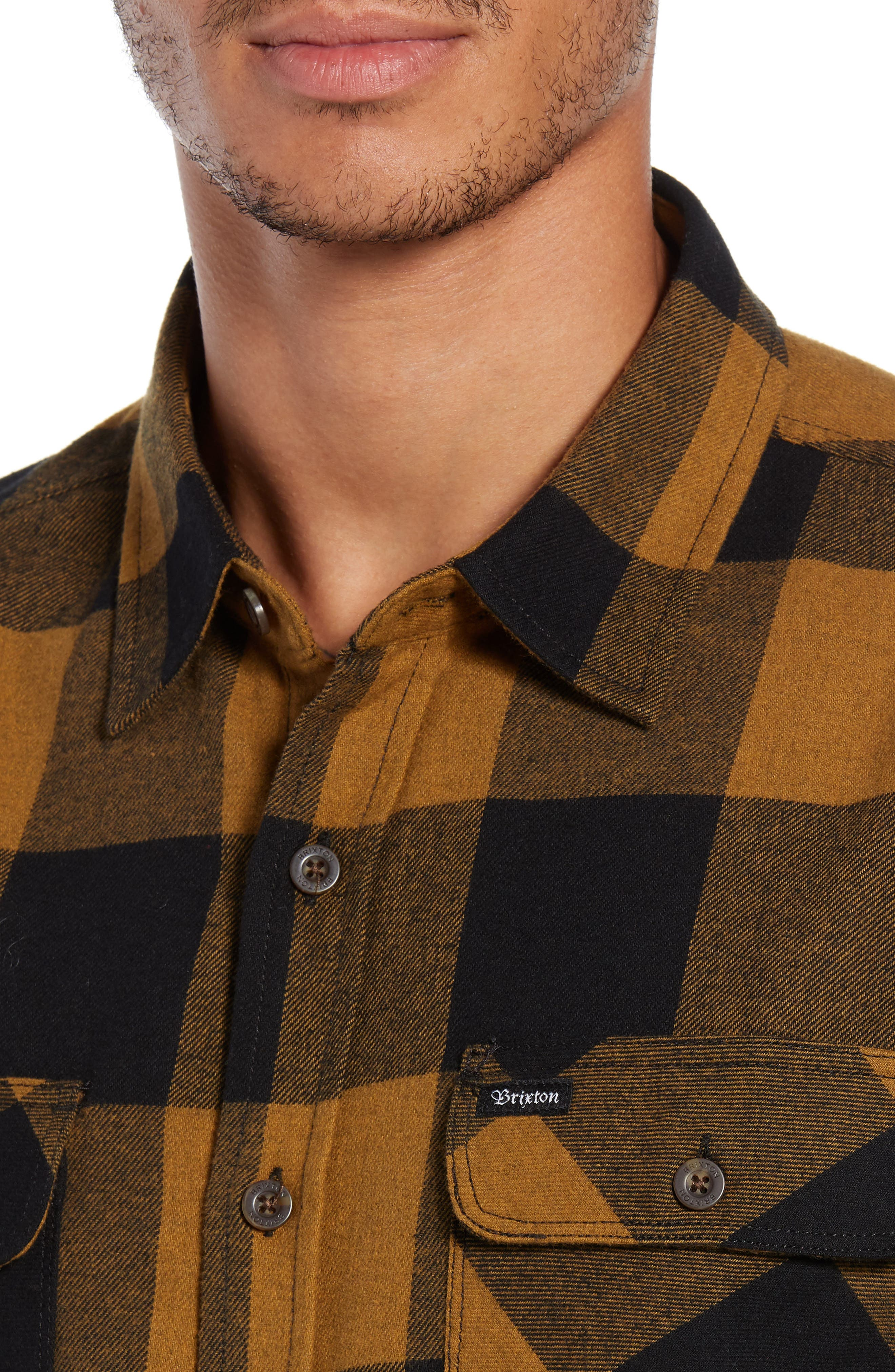 Bowery Buffalo Plaid Flannel Shirt,                             Alternate thumbnail 2, color,                             BLACK/ BRONZE