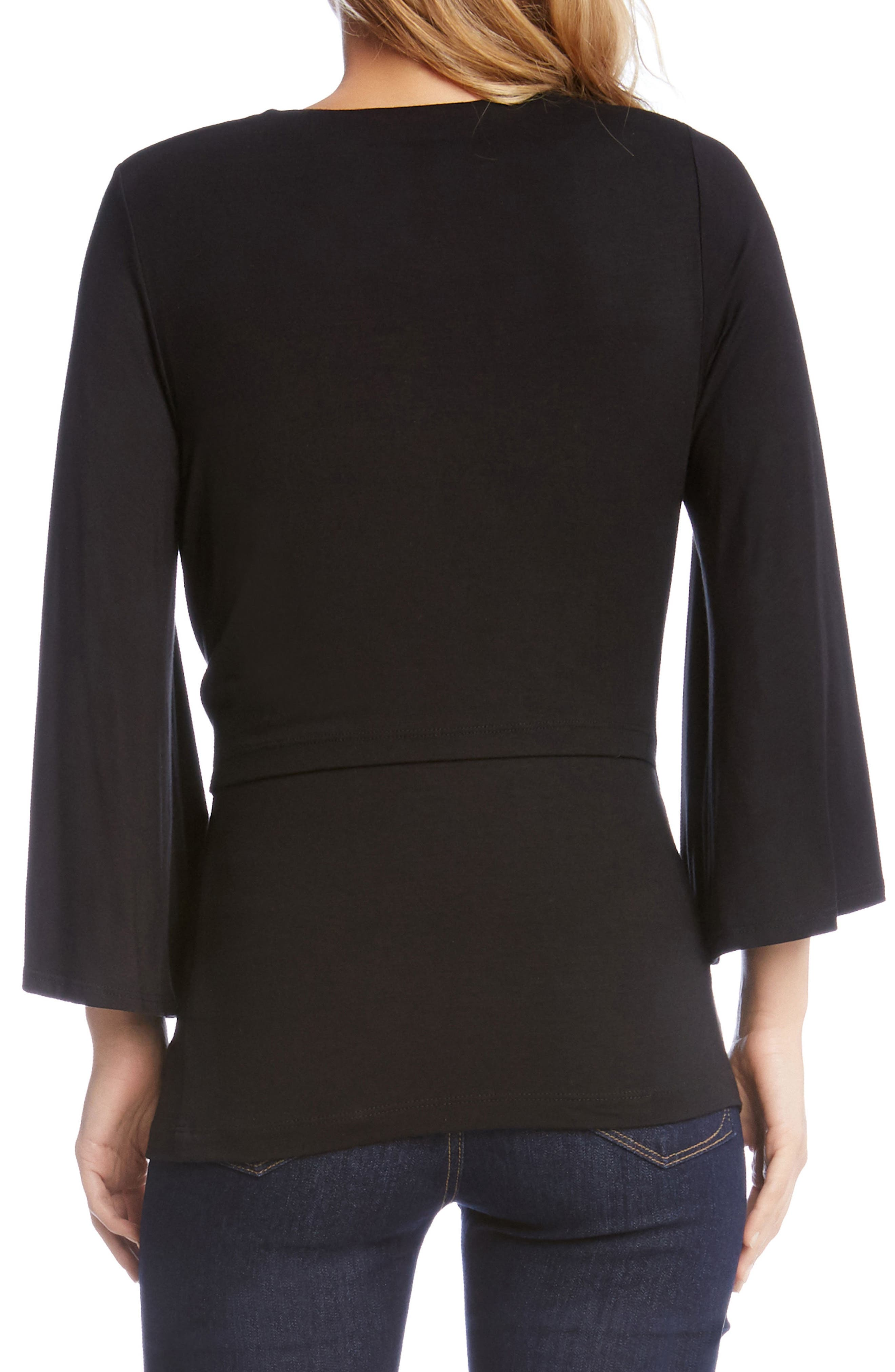 Bell Sleeve Twist Front Top,                             Alternate thumbnail 2, color,                             001
