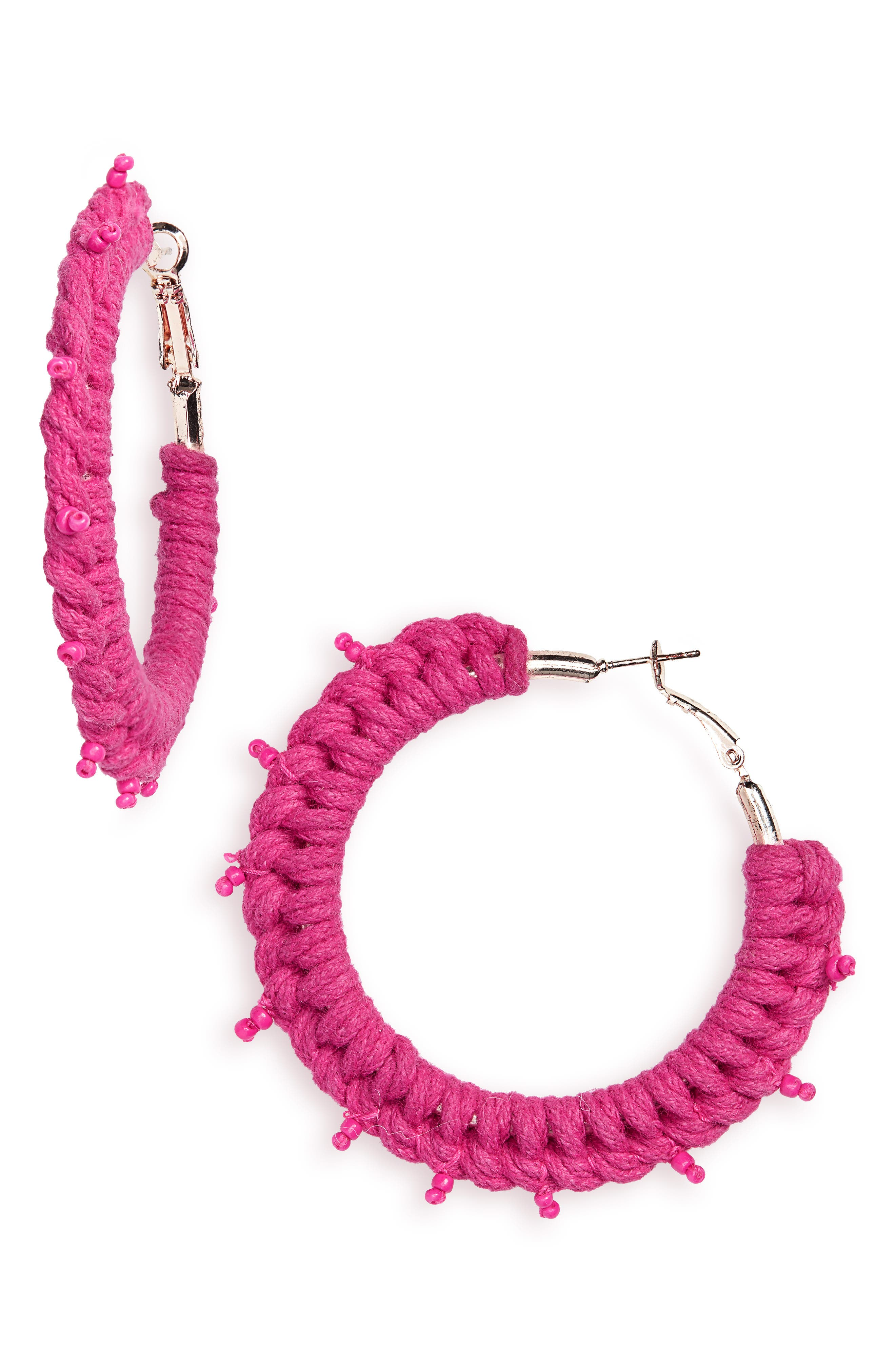 NEW FRIENDS COLONY Palma Hoop Earrings in Fuchsia