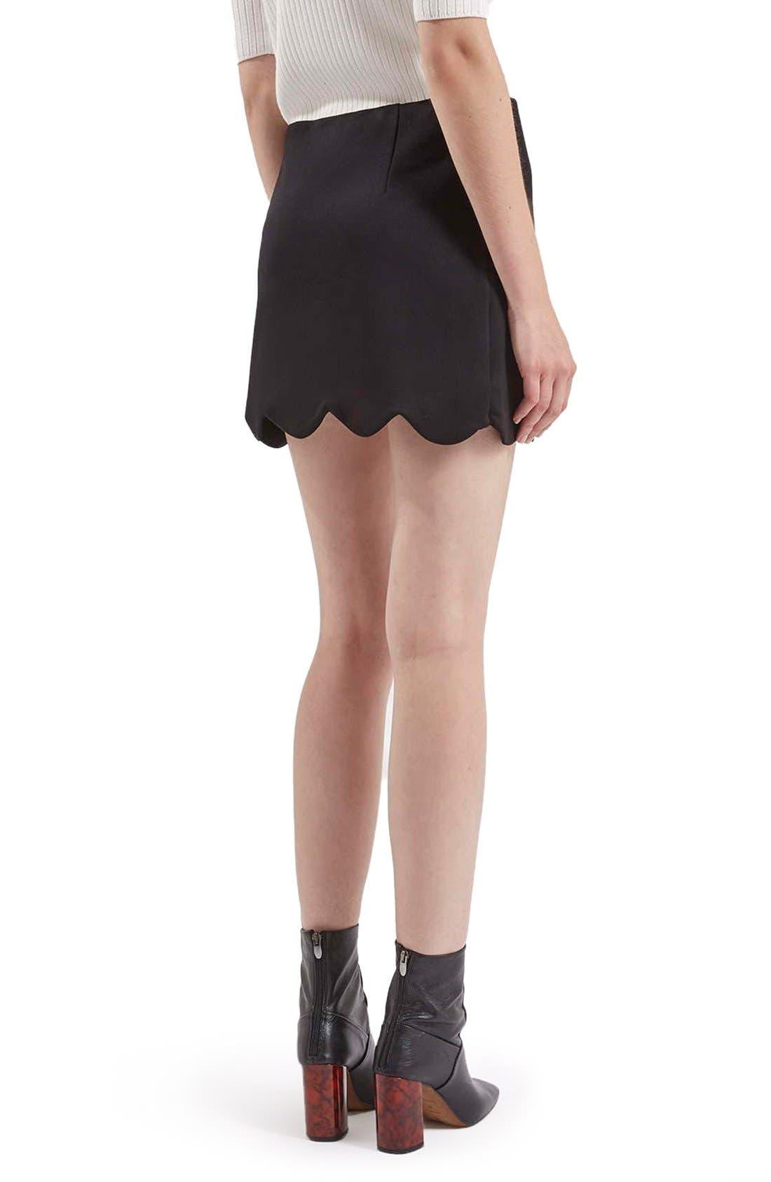 Scallop Hem Miniskirt,                             Alternate thumbnail 3, color,                             001