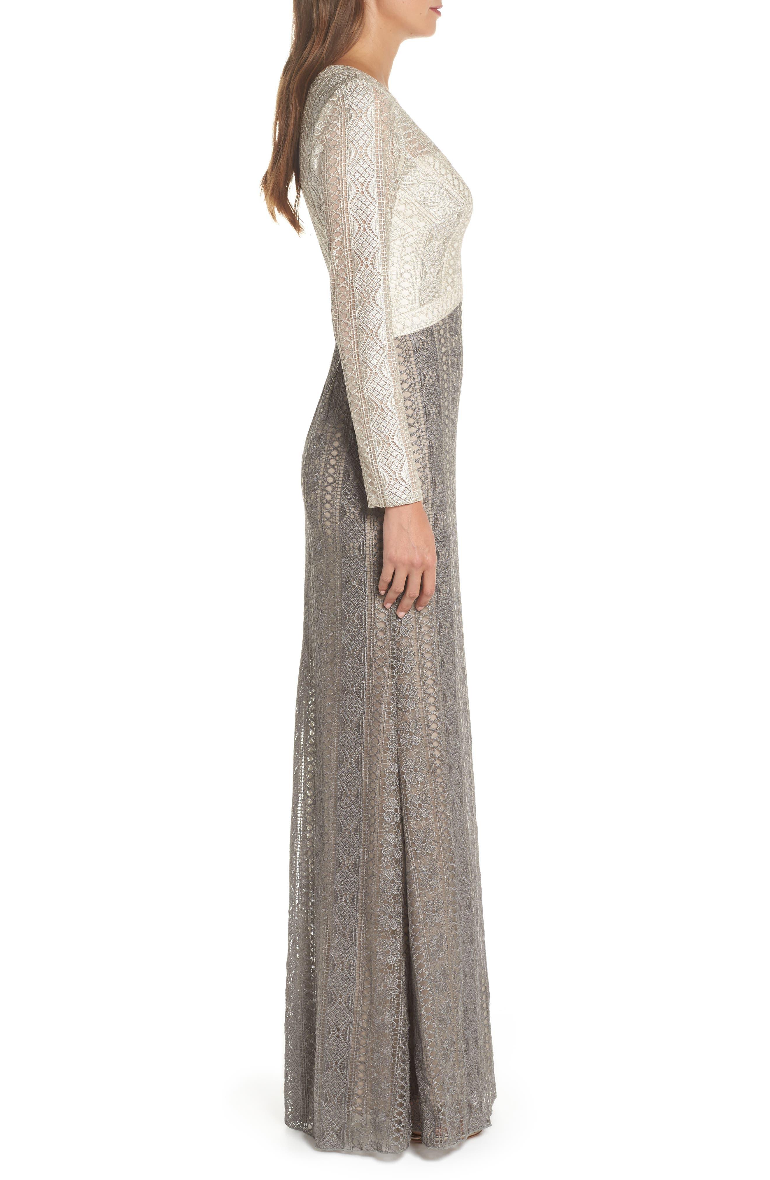 Lace Gown,                             Alternate thumbnail 3, color,                             LATTE/ SMOKE