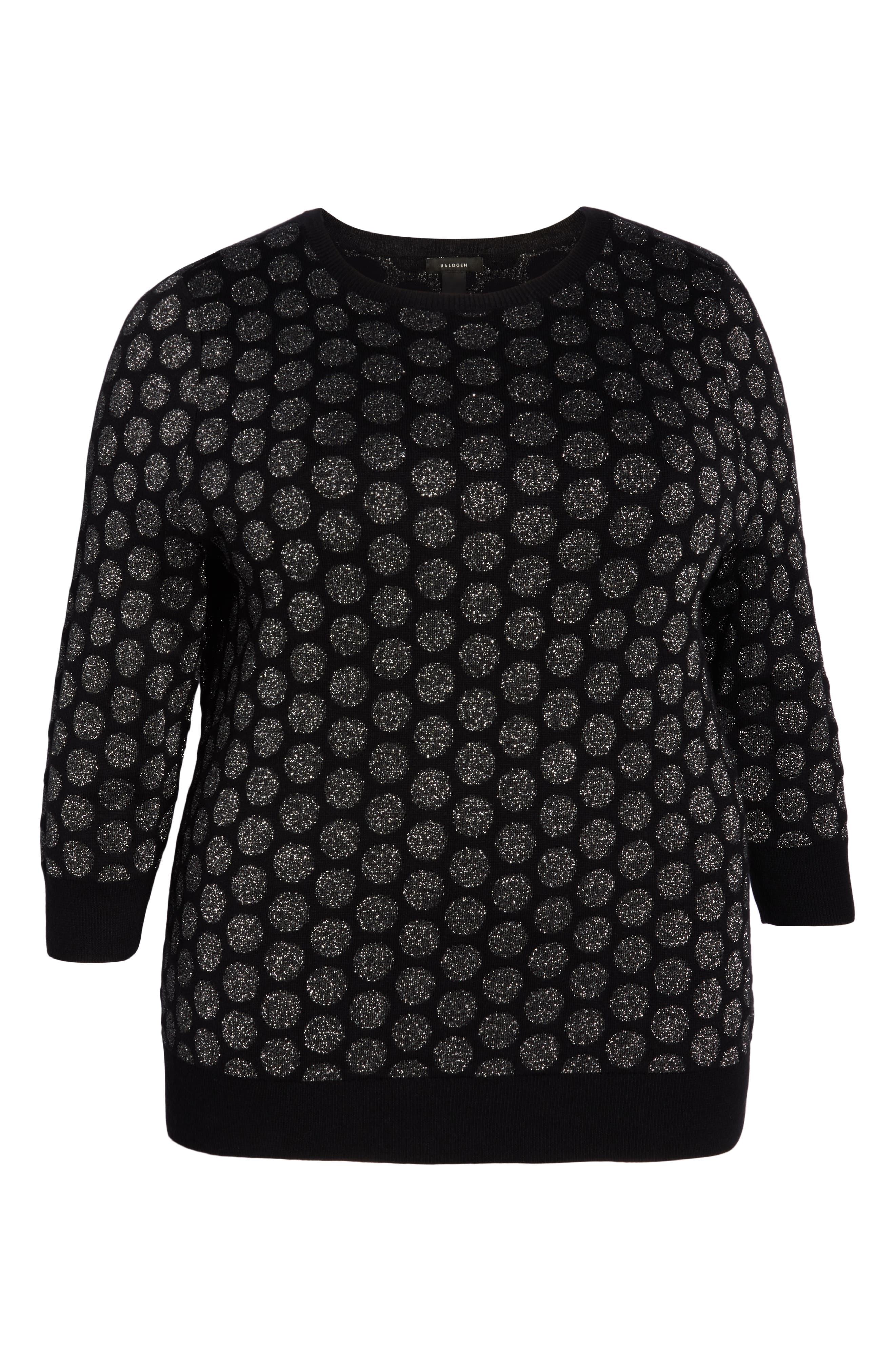 x Atlantic-Pacific Shimmer Dot Sweater,                             Alternate thumbnail 6, color,                             BLACK