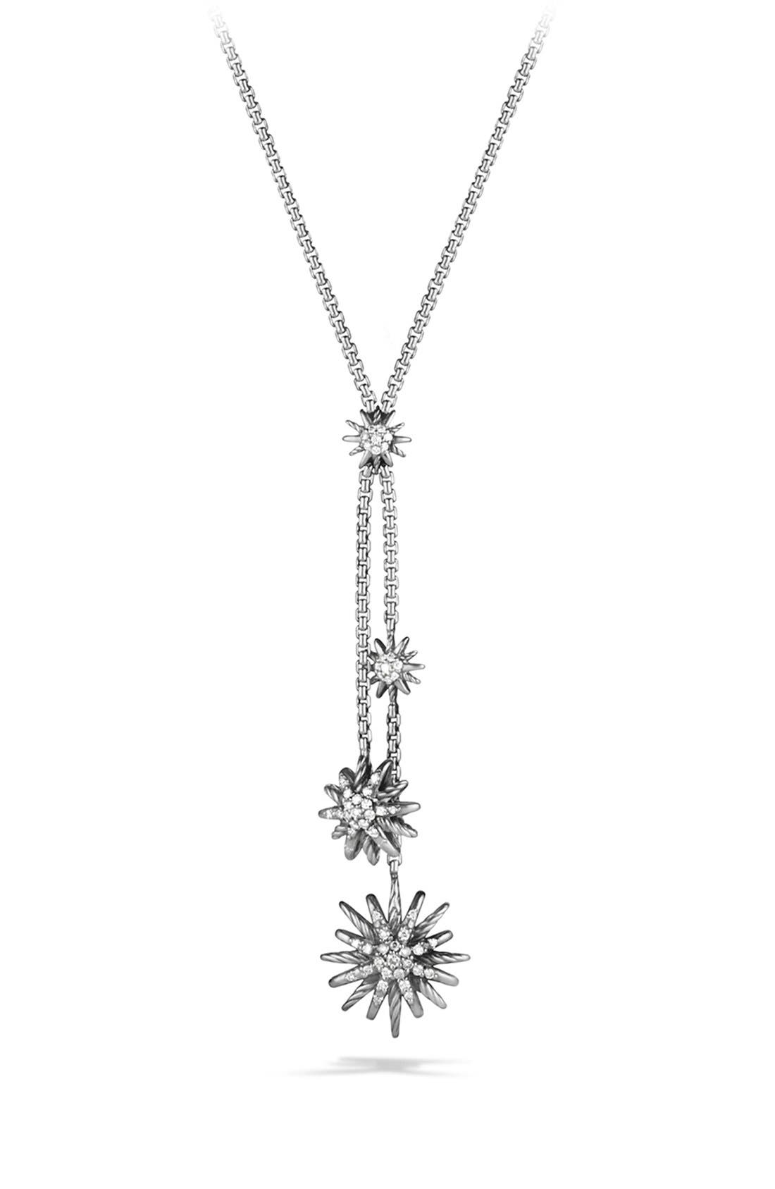 'Starburst' Y Necklace with Diamonds,                             Main thumbnail 1, color,                             DIAMOND