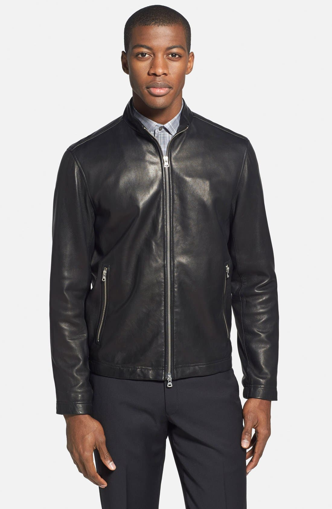 'Morvek L.Kelleher' Sheepskin Leather Jacket,                             Main thumbnail 1, color,                             BLACK