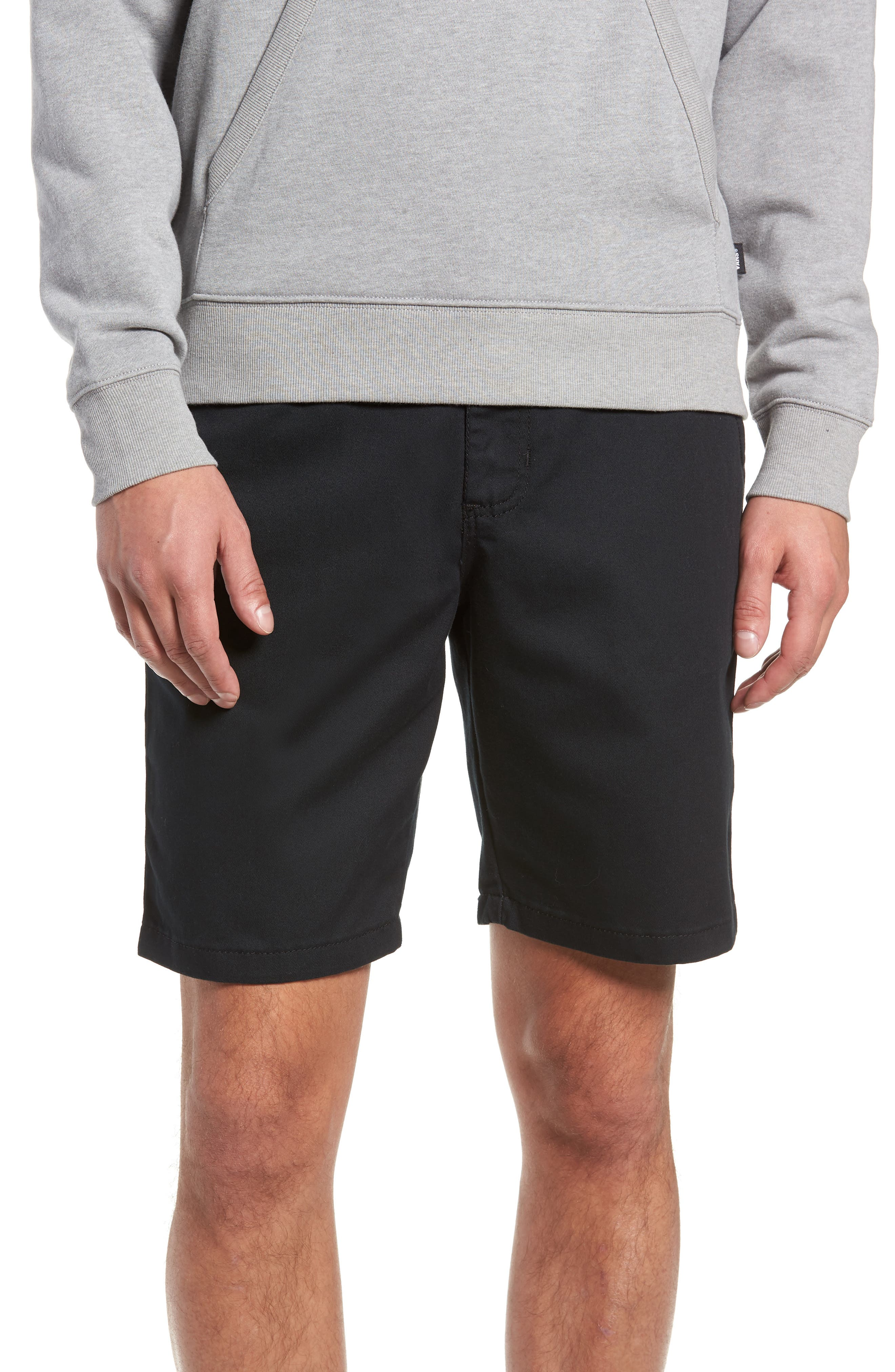 Stretch Twill Chino Shorts,                         Main,                         color, BLACK