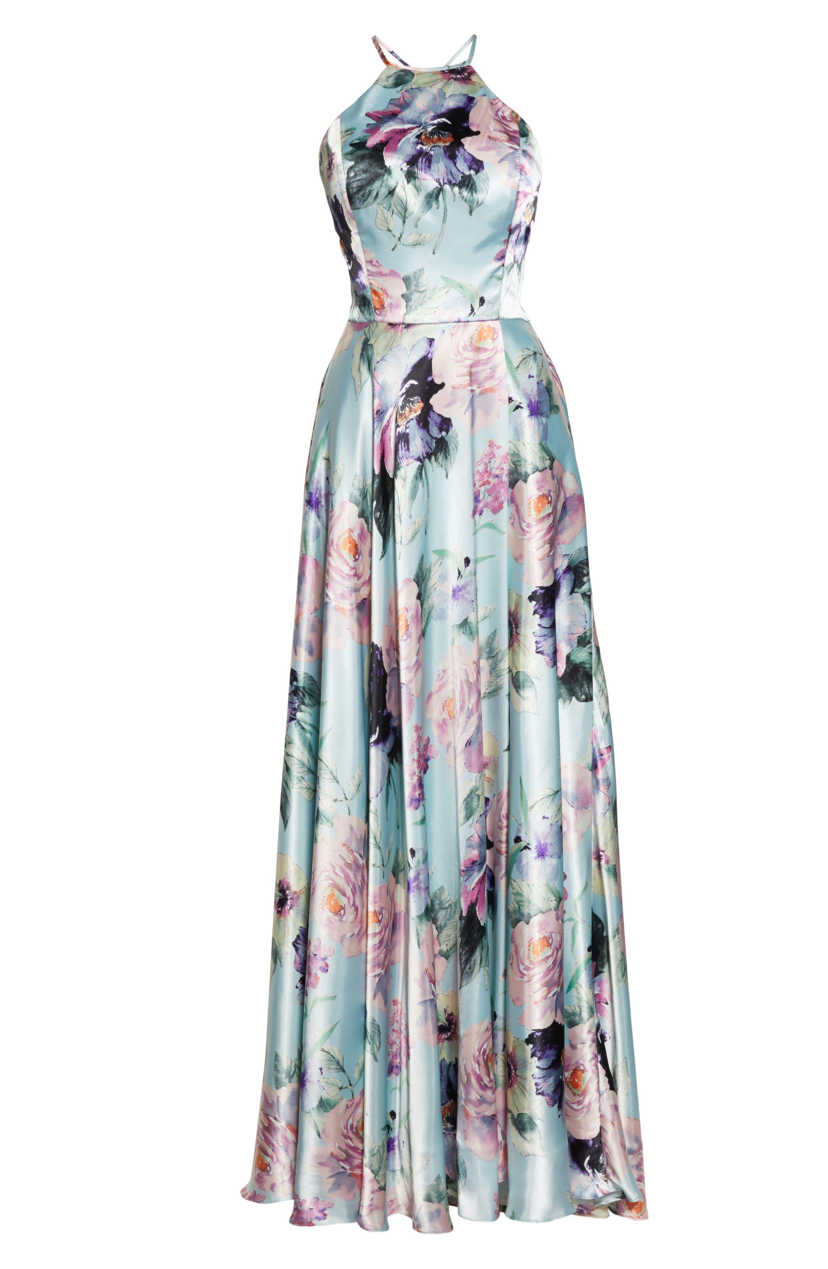 BLONDIE NITES,                             Floral Print Charmeuse Evening Dress,                             Alternate thumbnail 7, color,                             MINT/ MULTI