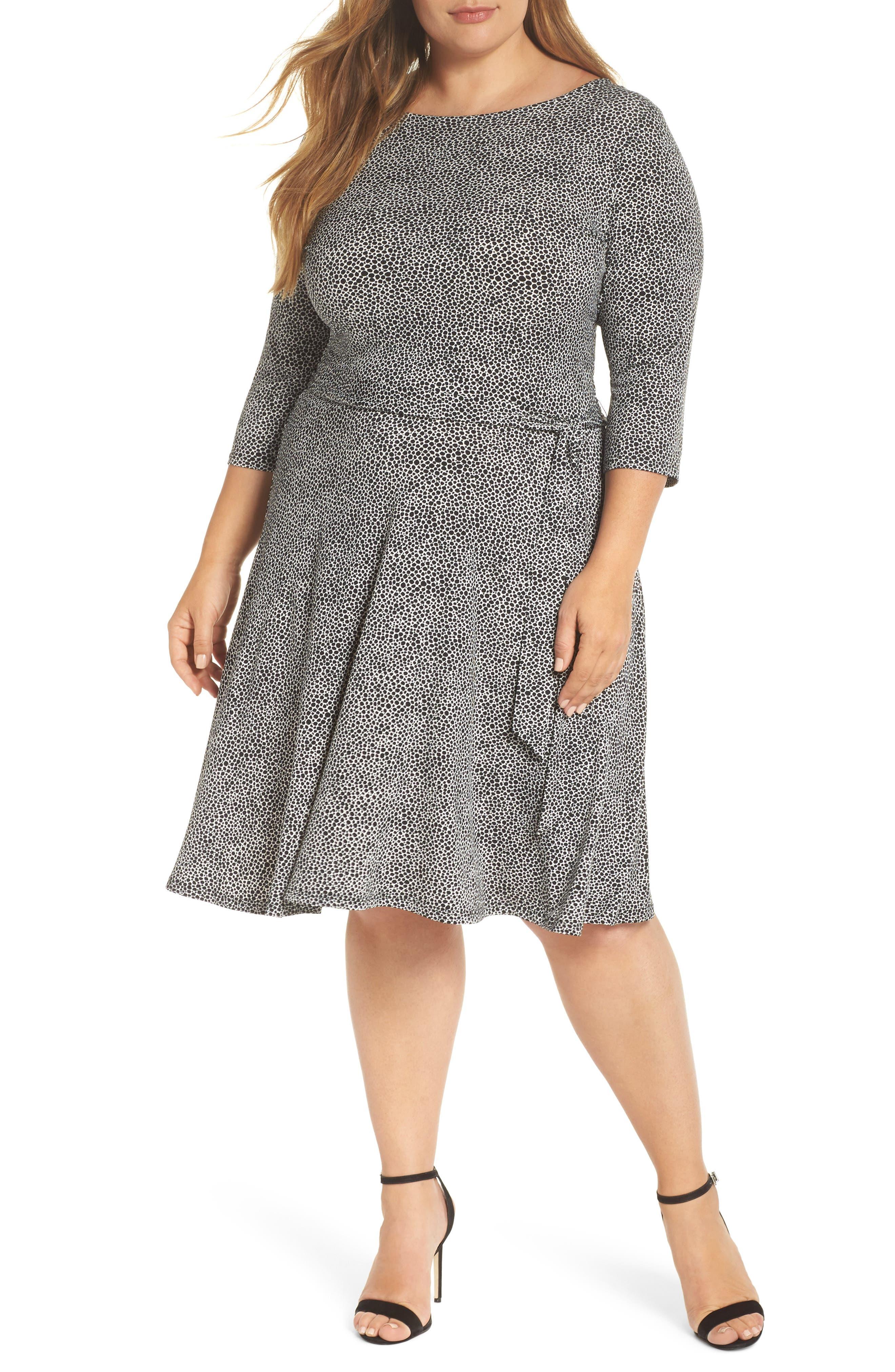 Llana Stretch Jersey Dress,                             Main thumbnail 1, color,                             PEBBLE