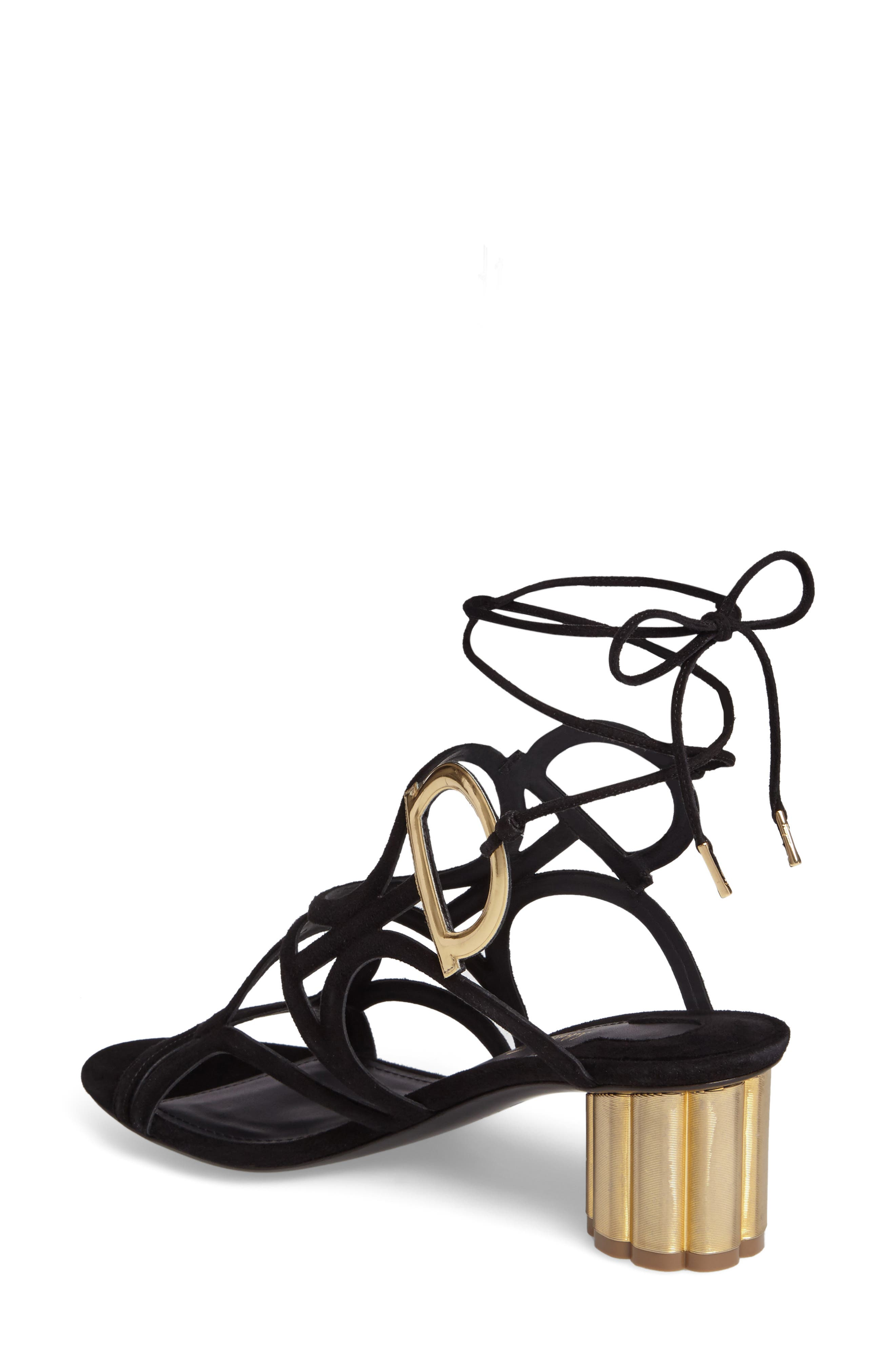 Vinci Lace-Up Block Heel Sandal,                             Alternate thumbnail 2, color,                             BLACK SUEDE