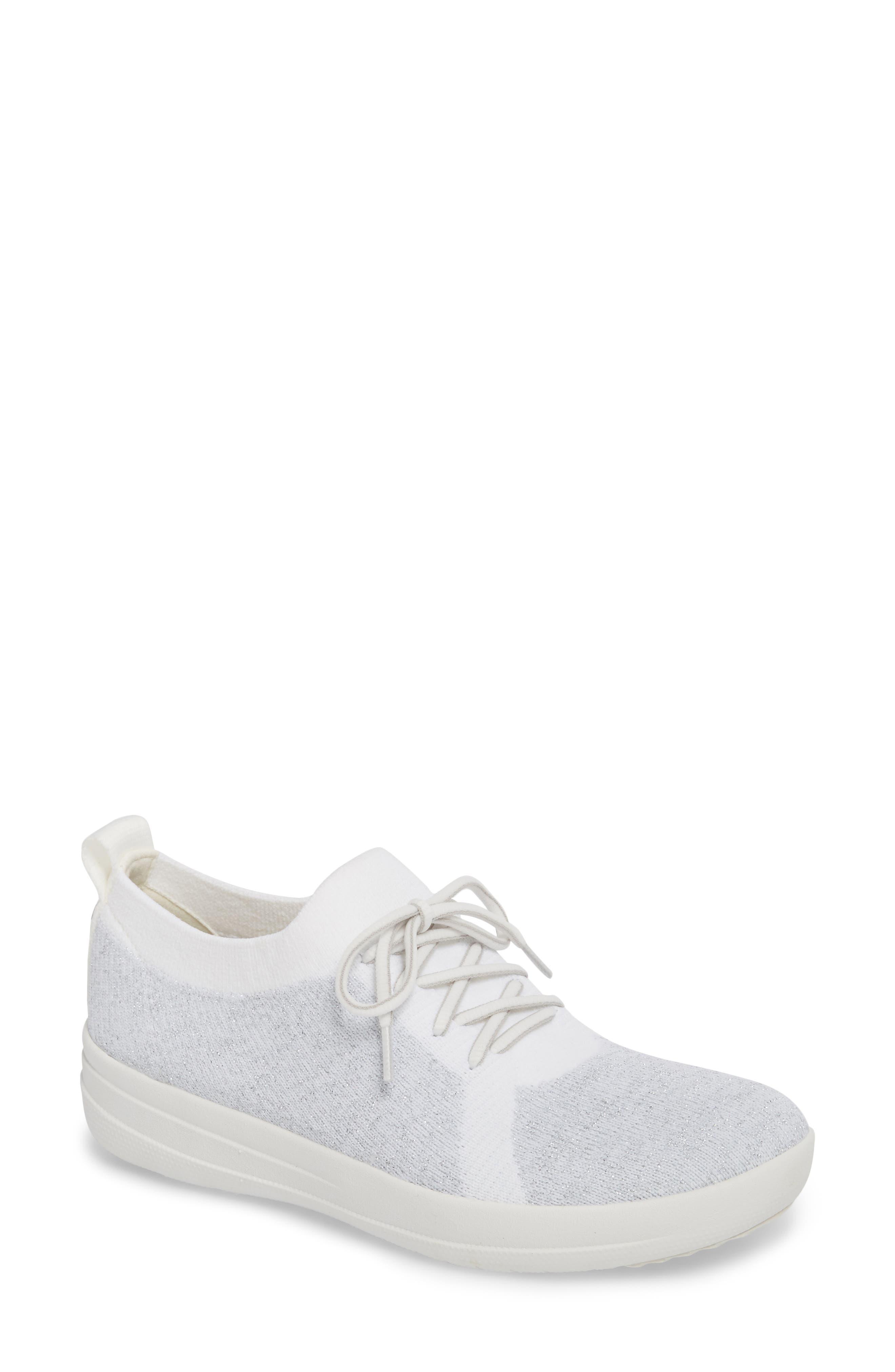 FITFLOP,                             Uberknit<sup>™</sup> F-Sporty Sneaker,                             Main thumbnail 1, color,                             METALLIC SILVER/ URBAN WHITE