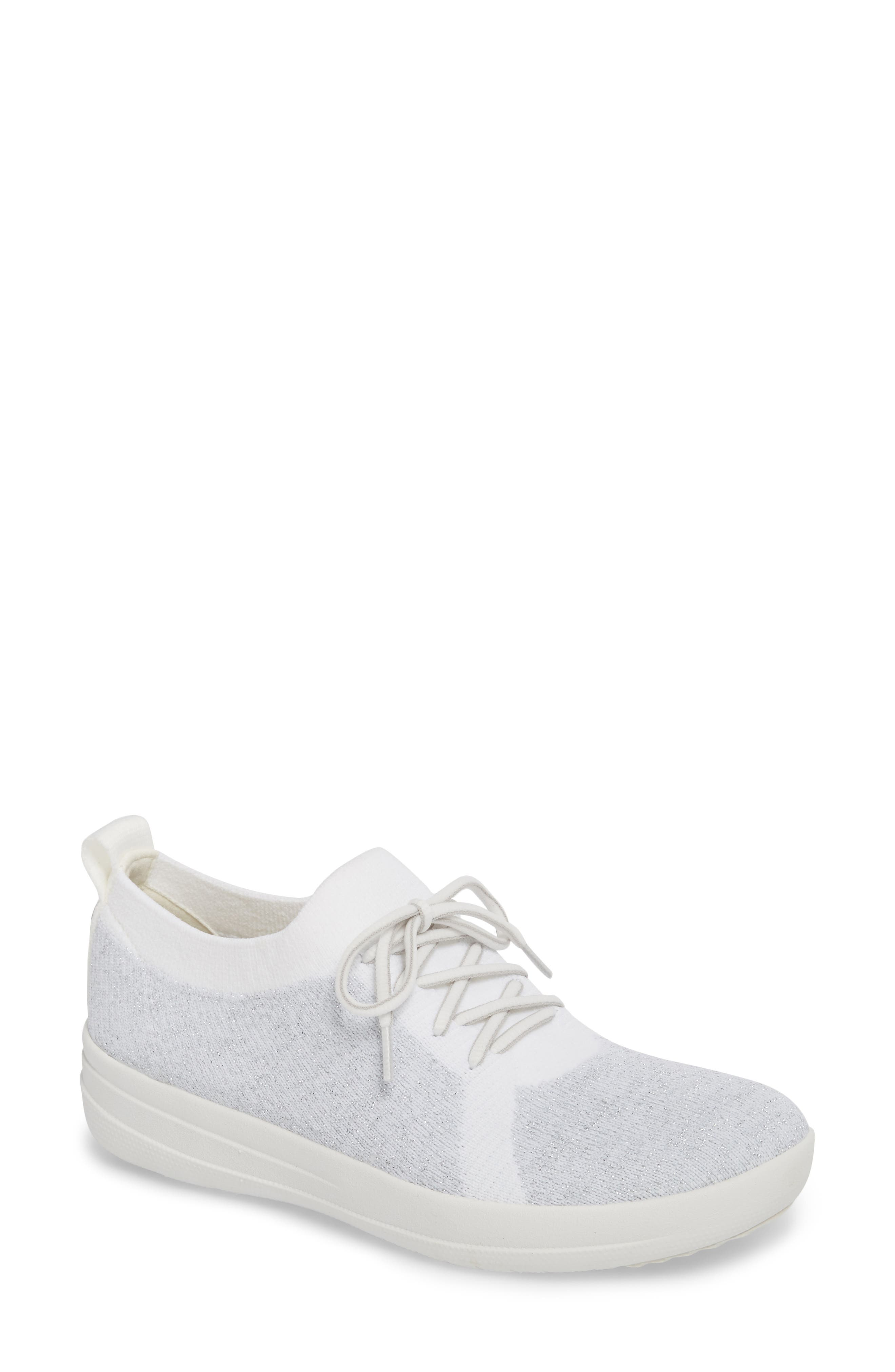 FITFLOP Uberknit<sup>™</sup> F-Sporty Sneaker, Main, color, METALLIC SILVER/ URBAN WHITE
