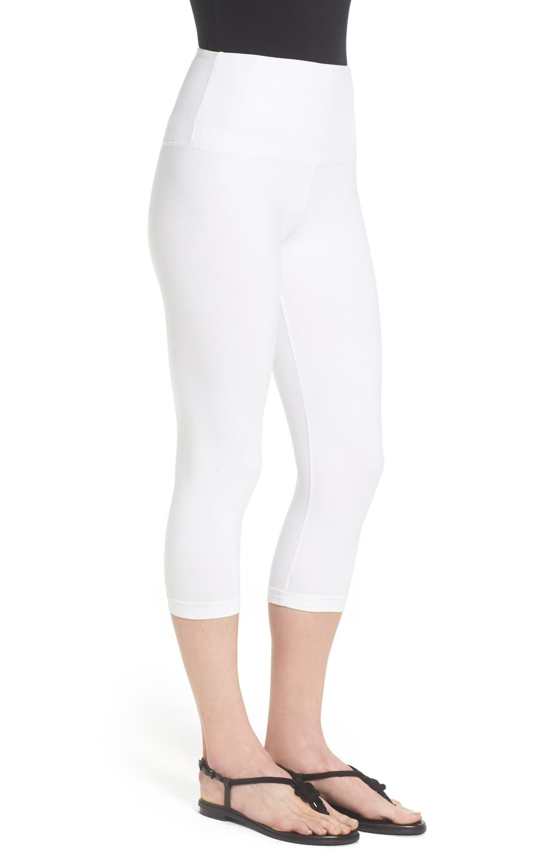 Control Top High Waist Capris,                             Alternate thumbnail 6, color,                             WHITE