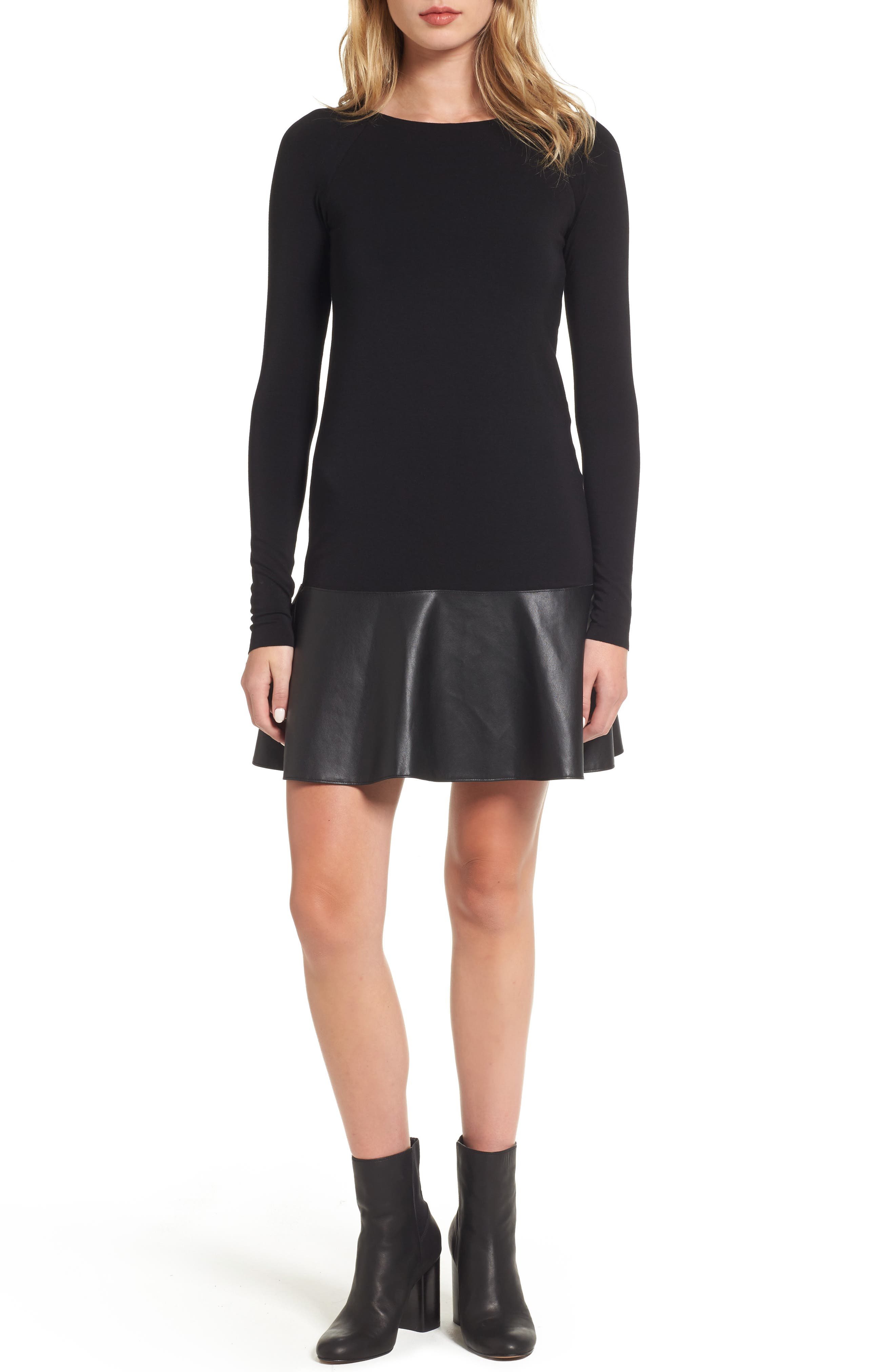 Georgina Faux Leather & Jersey Dress,                             Main thumbnail 1, color,                             001